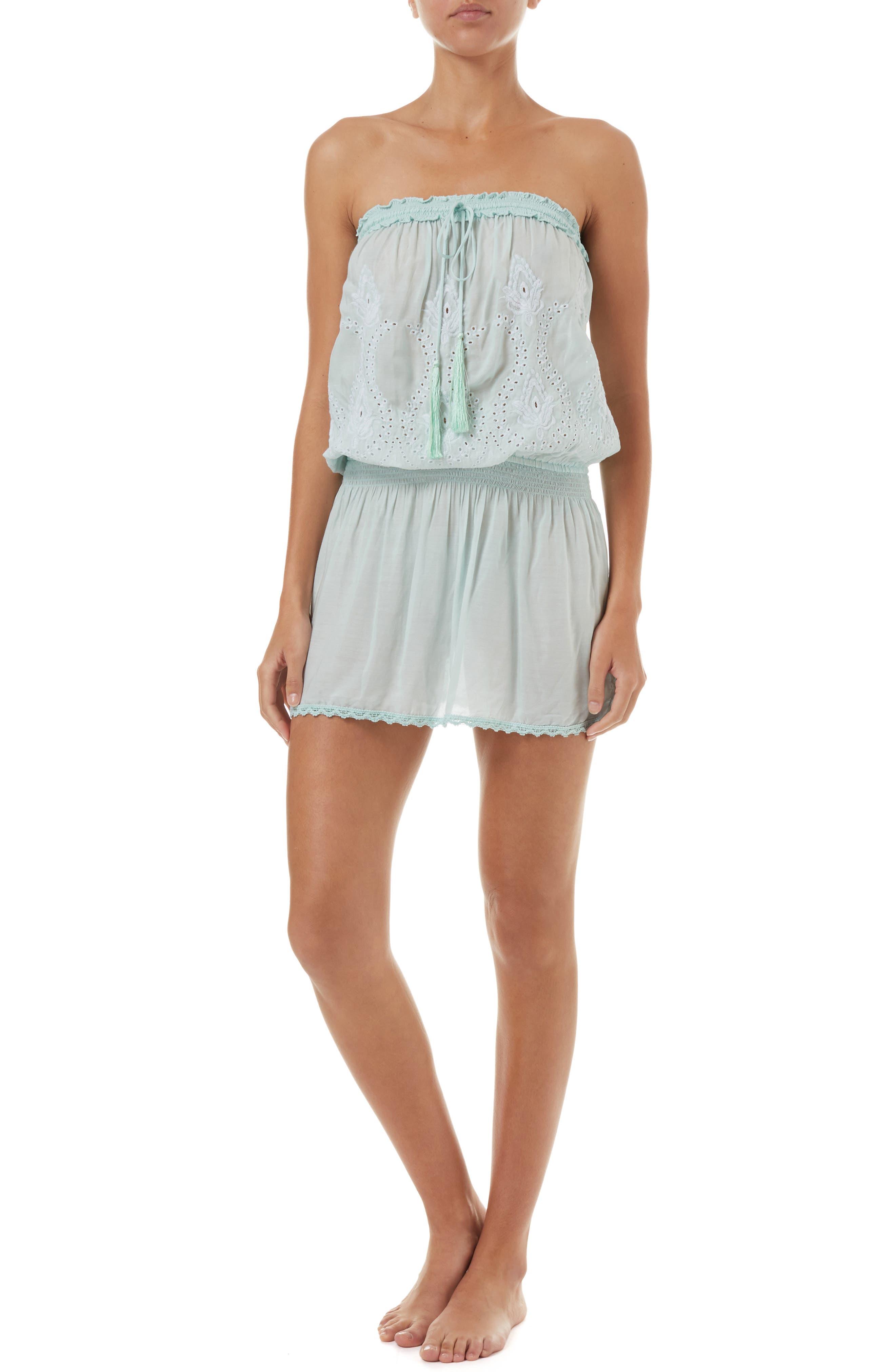 MELISSA ODABASH Fruley Cover-Up Dress, Main, color, MINT/ WHITE