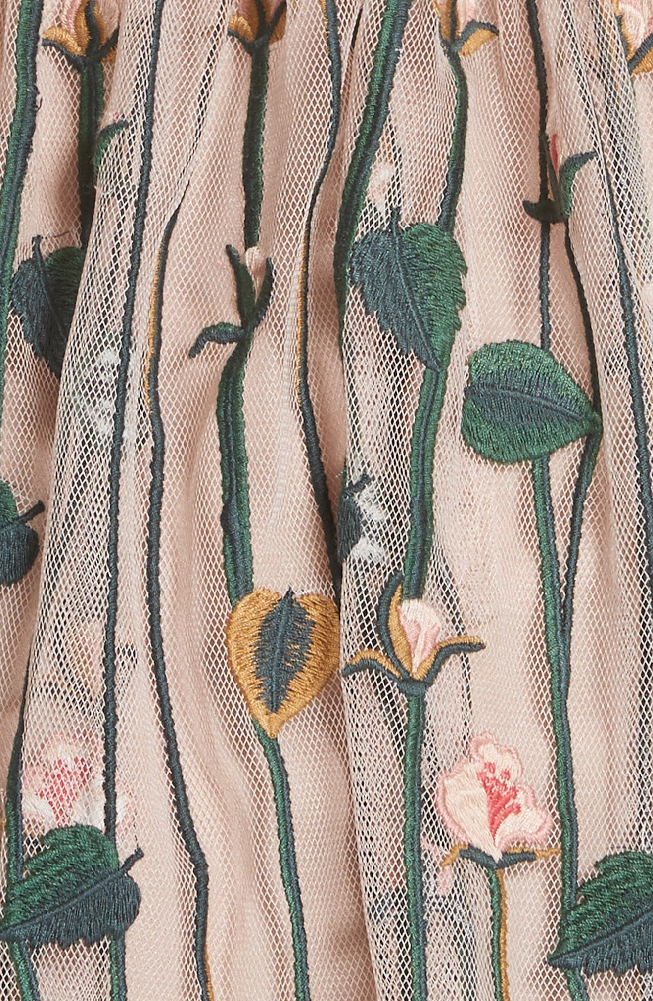 Floral Embroidered Dress,                             Alternate thumbnail 5, color,                             NUDE