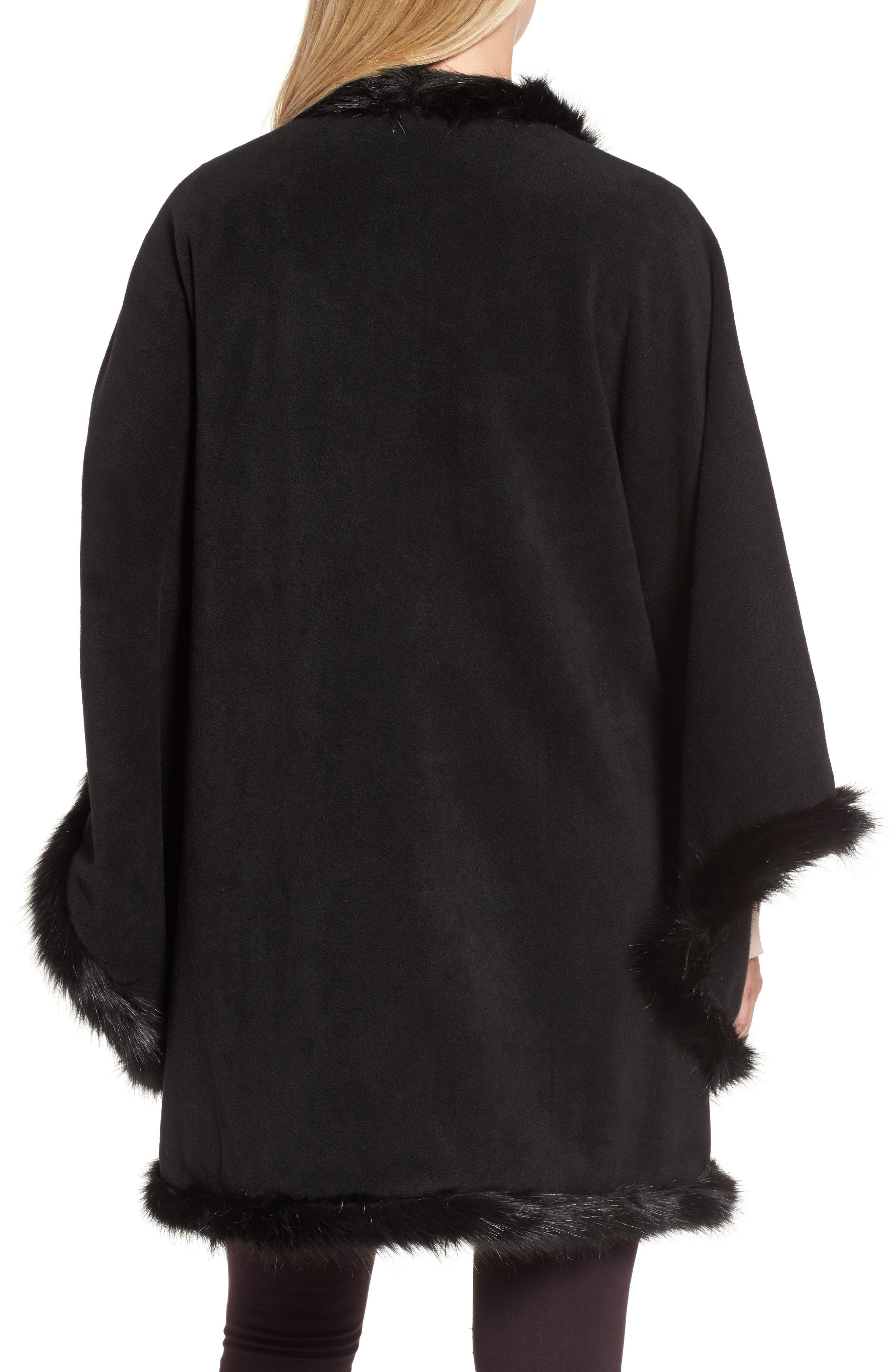Tara Faux Fur Trim Wrap,                             Alternate thumbnail 2, color,                             001