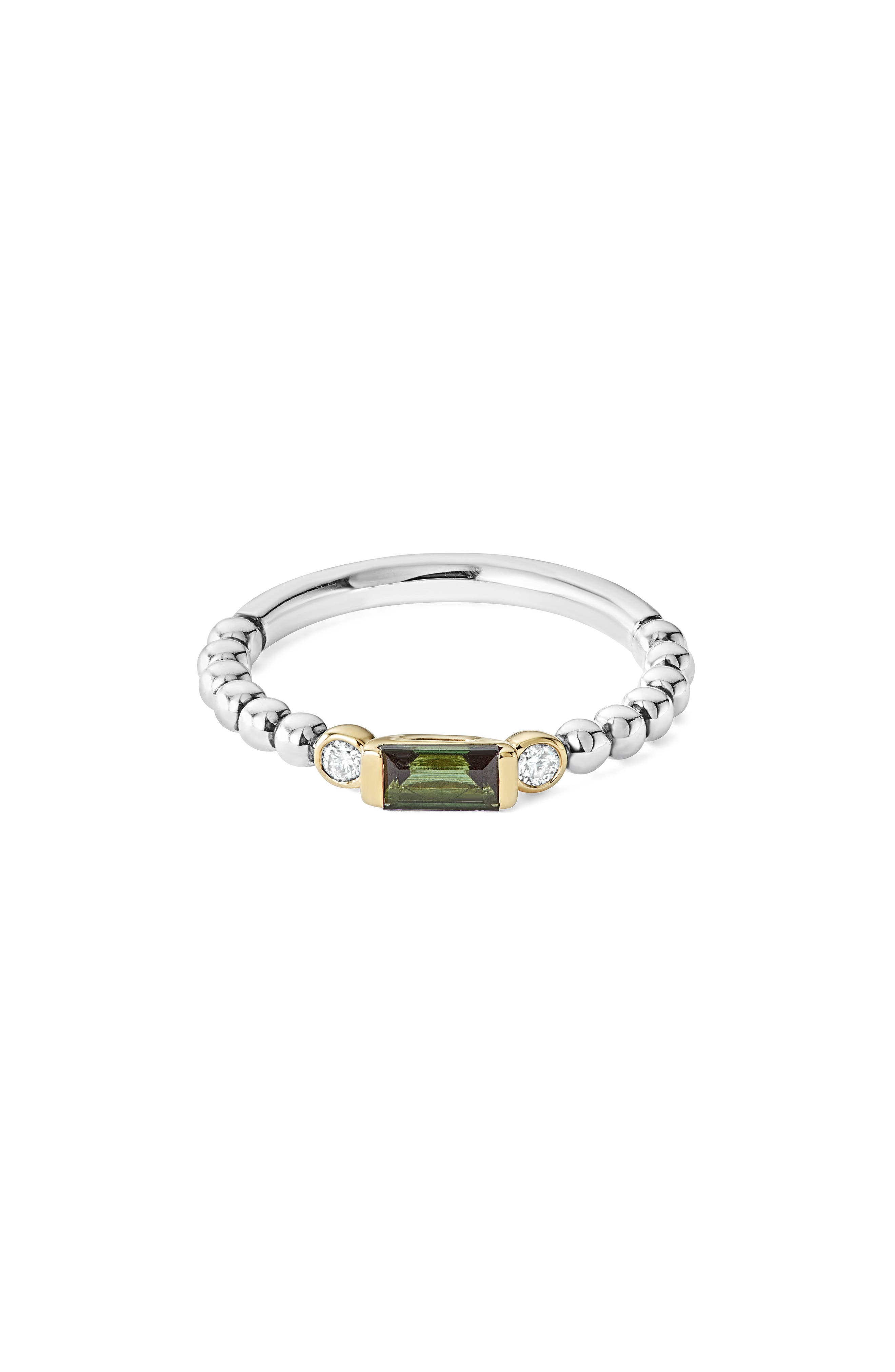 Gemstone Baguette and Diamond Beaded Band Ring,                             Main thumbnail 1, color,                             SILVER/ 18K GOLD/ TOURMALINE