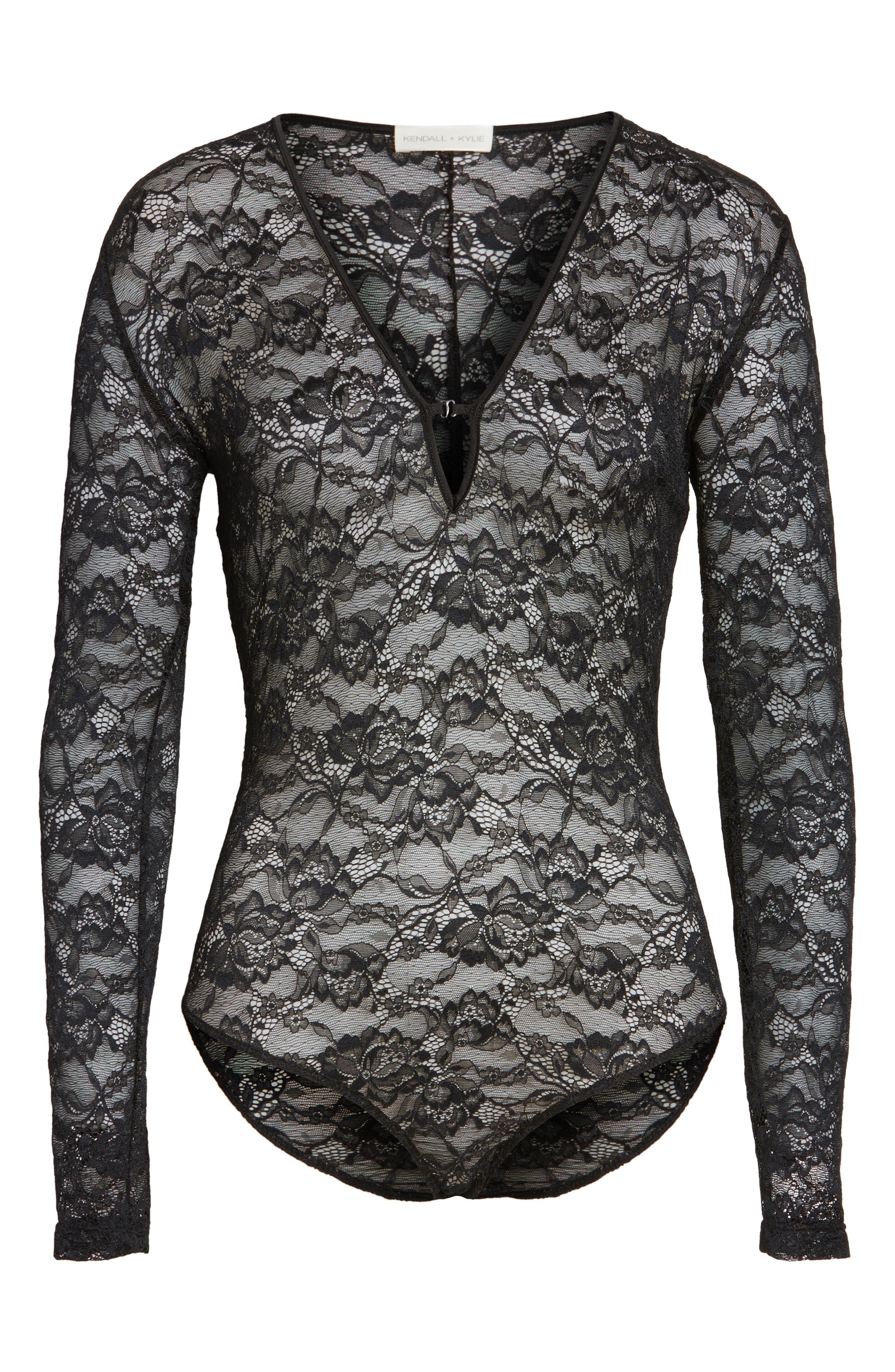 Lace Bodysuit,                             Alternate thumbnail 5, color,                             001