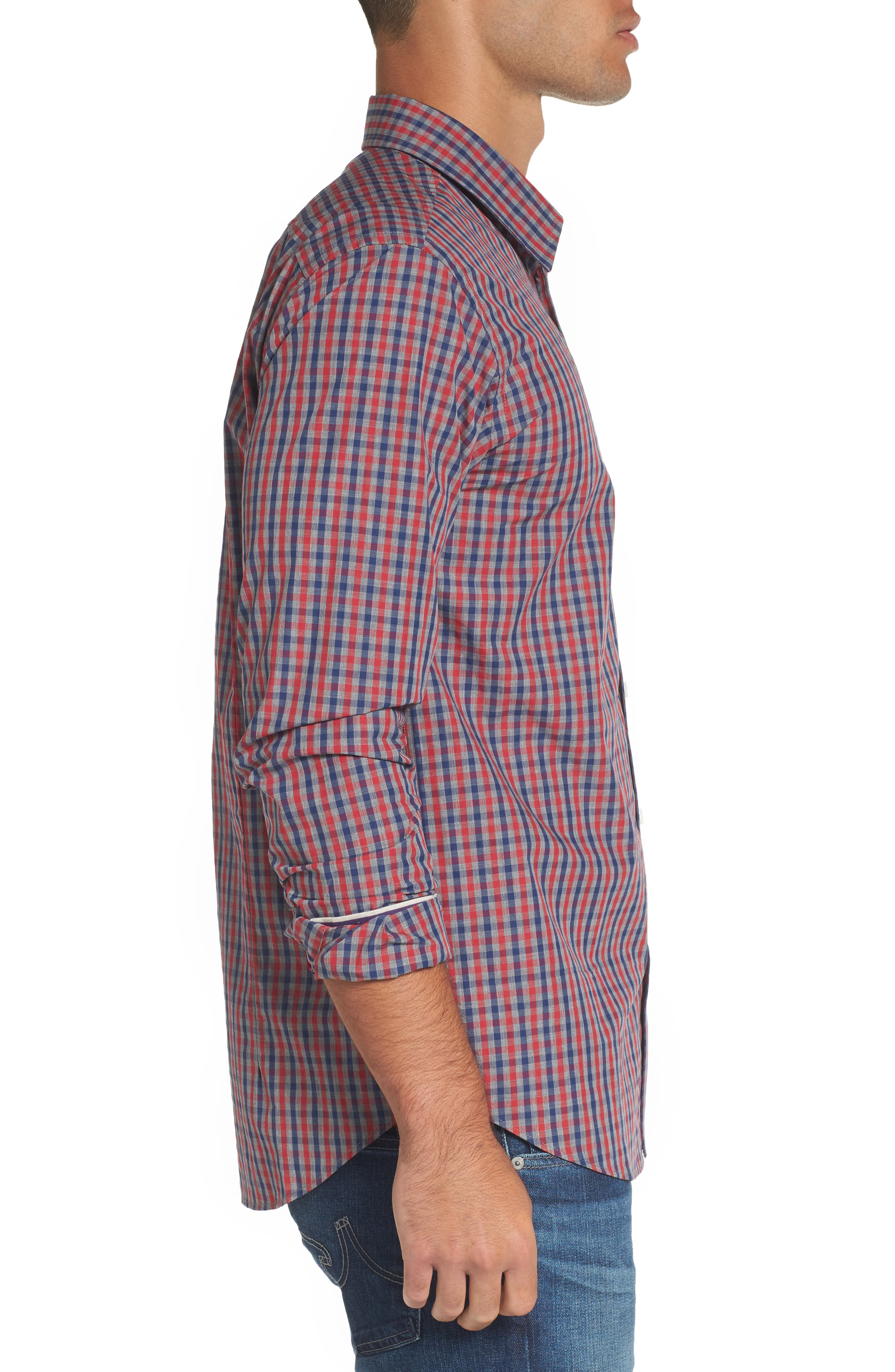 Comfort Fit Check Sport Shirt,                             Alternate thumbnail 3, color,