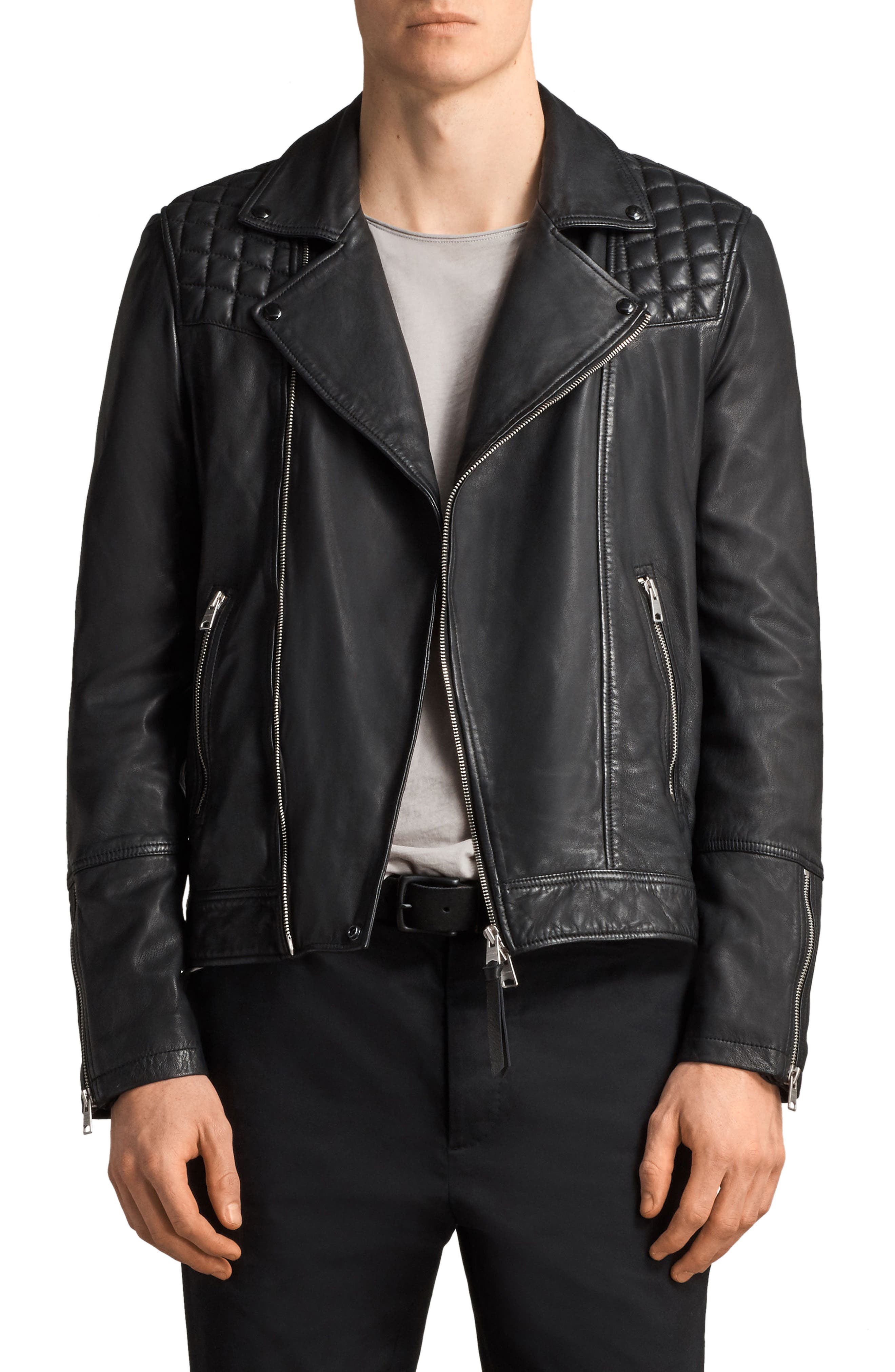 Taro Slim Fit Leather Biker Jacket,                         Main,                         color, 001