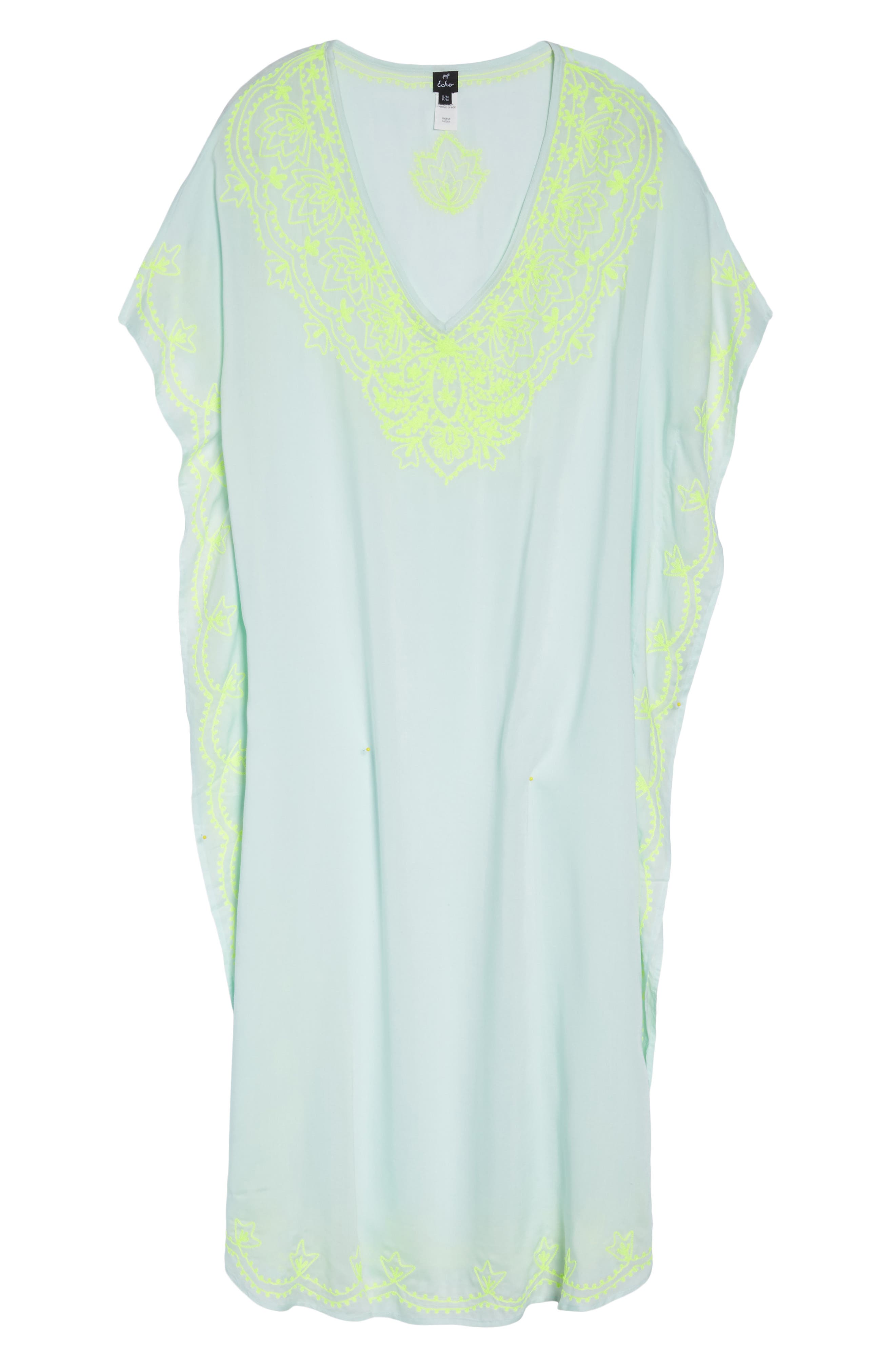 Embroidered Cover-Up Caftan,                             Alternate thumbnail 6, color,                             SEAFOAM