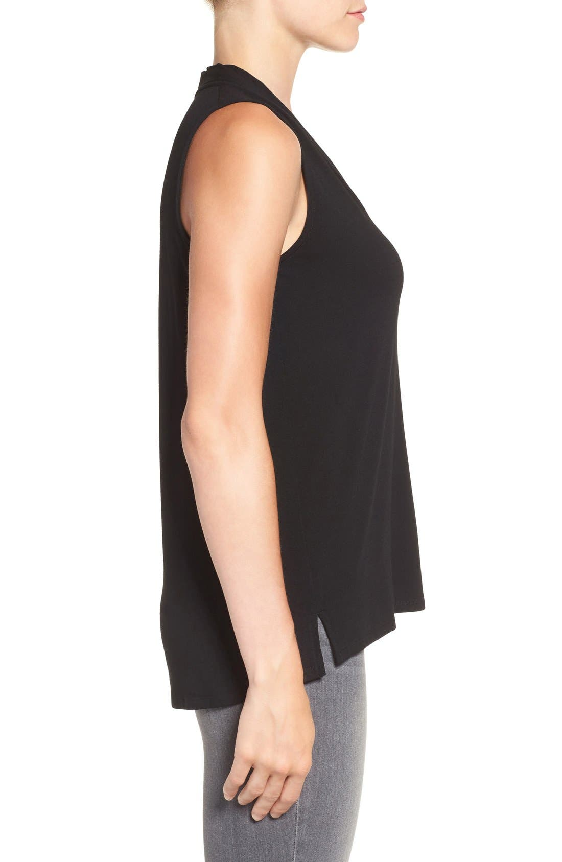 Sleeveless V-Neck Top,                             Alternate thumbnail 3, color,                             RICH BLACK