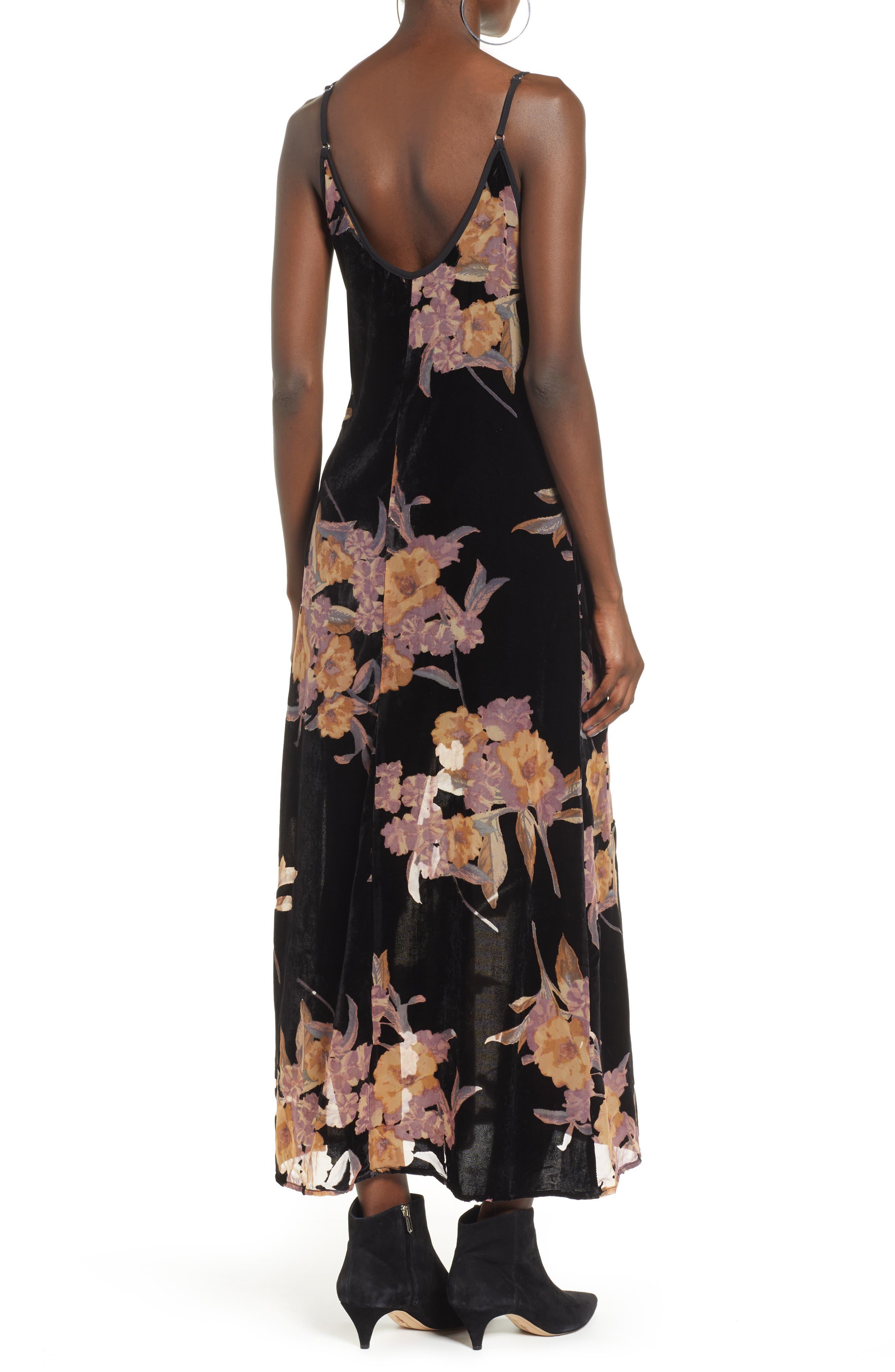 BAND OF GYPSIES,                             Mallorey Floral Print Velvet Dress,                             Alternate thumbnail 2, color,                             001