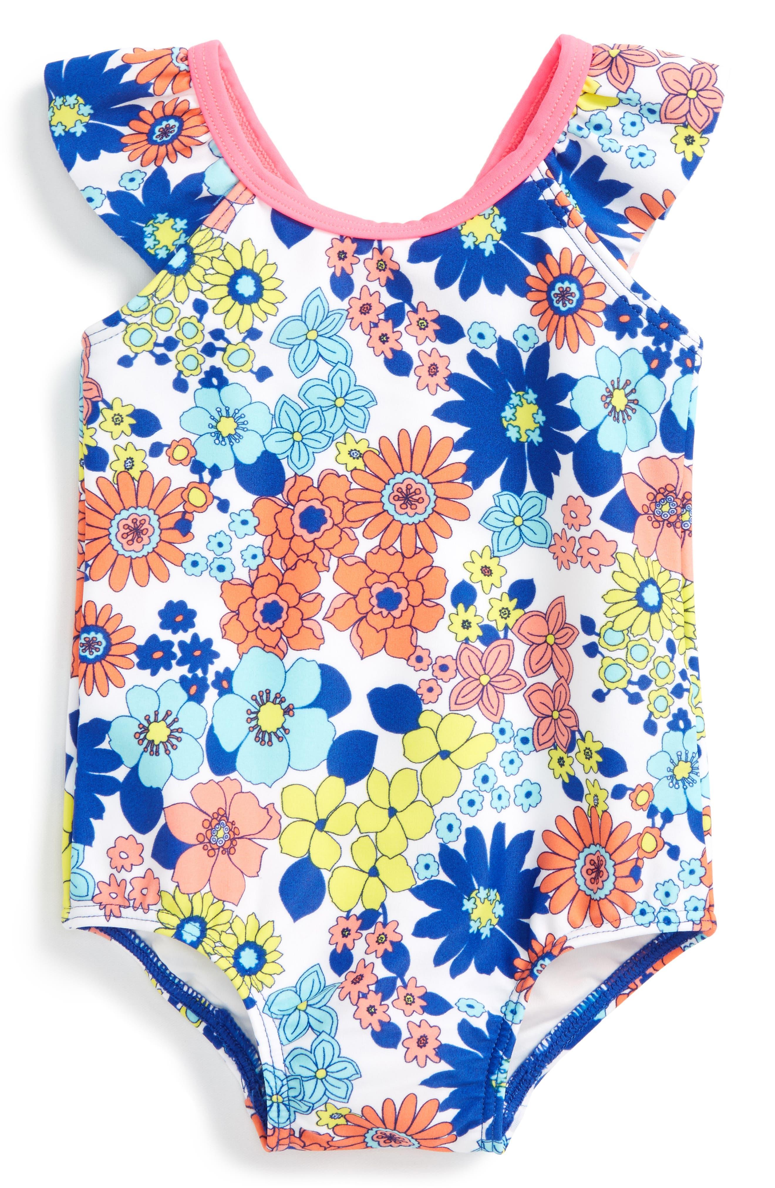 Flutter Sleeve One-Piece Swimsuit, Main, color, 100