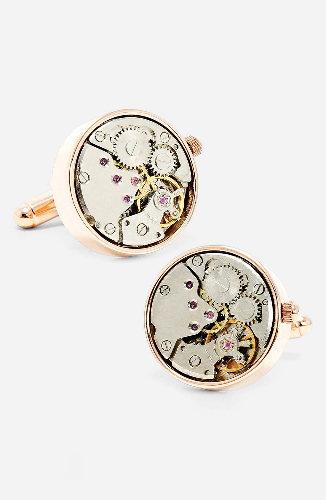 Penny Black 40 Steampunk Watch Movement Cuff Links,                             Main thumbnail 3, color,