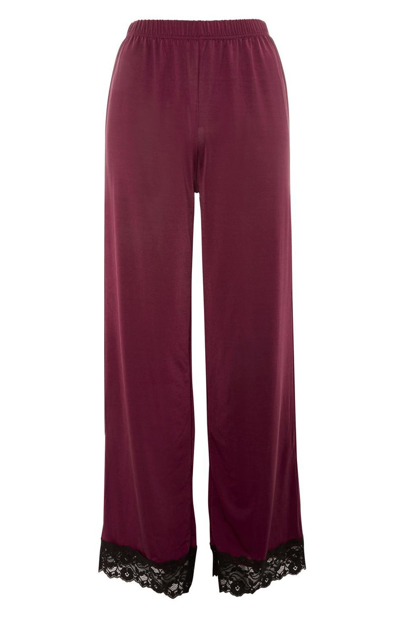 Jersey Satin & Lace Pajama Pants,                             Alternate thumbnail 4, color,                             930