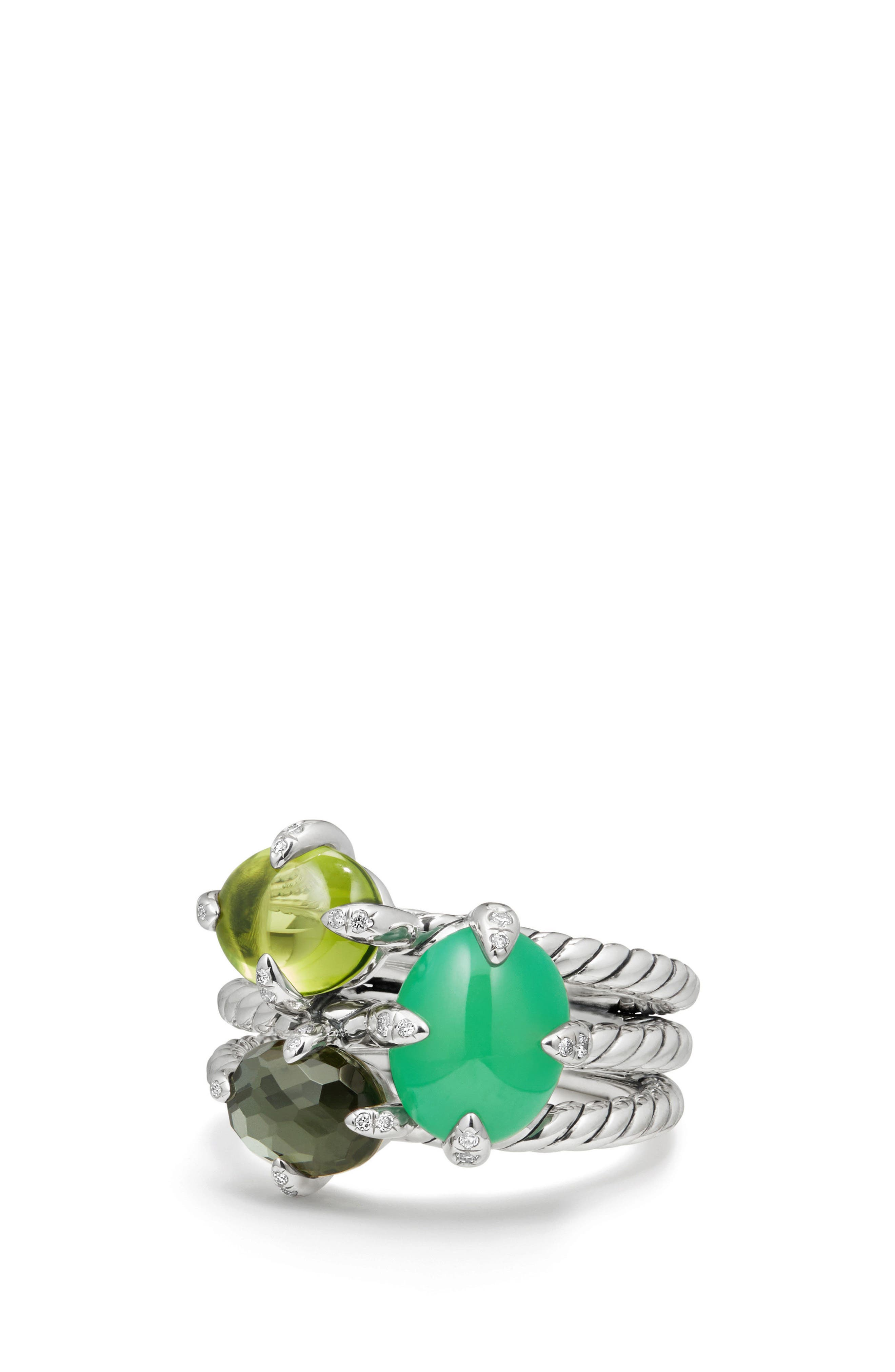 Chatelaine<sup>®</sup> Three-Gemstone Diamond Ring,                             Alternate thumbnail 3, color,                             SILVER/ DIAMOND/ CHRYSOPRASE