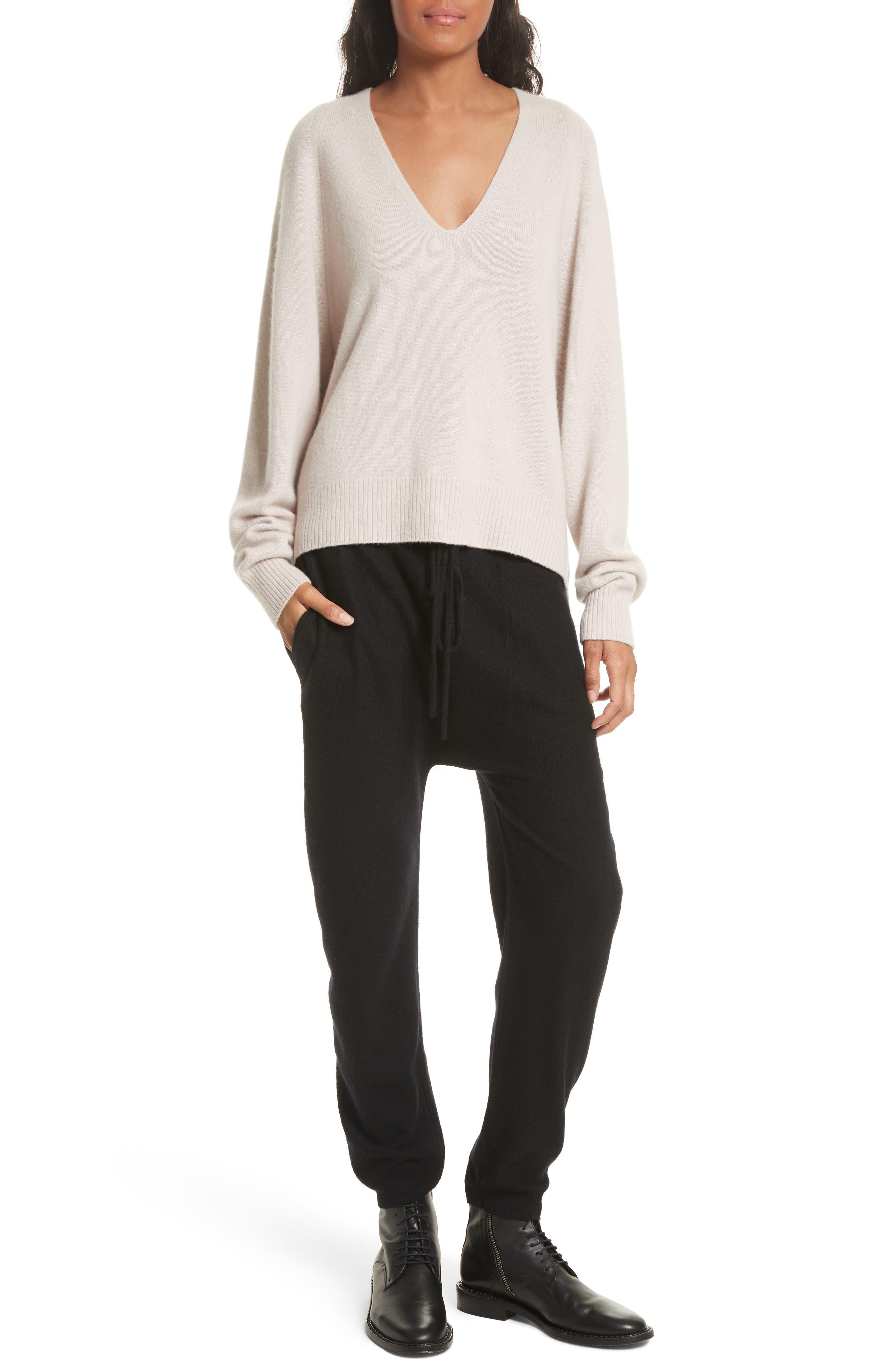 Deep V-Neck Cashmere Sweater,                             Alternate thumbnail 7, color,                             254