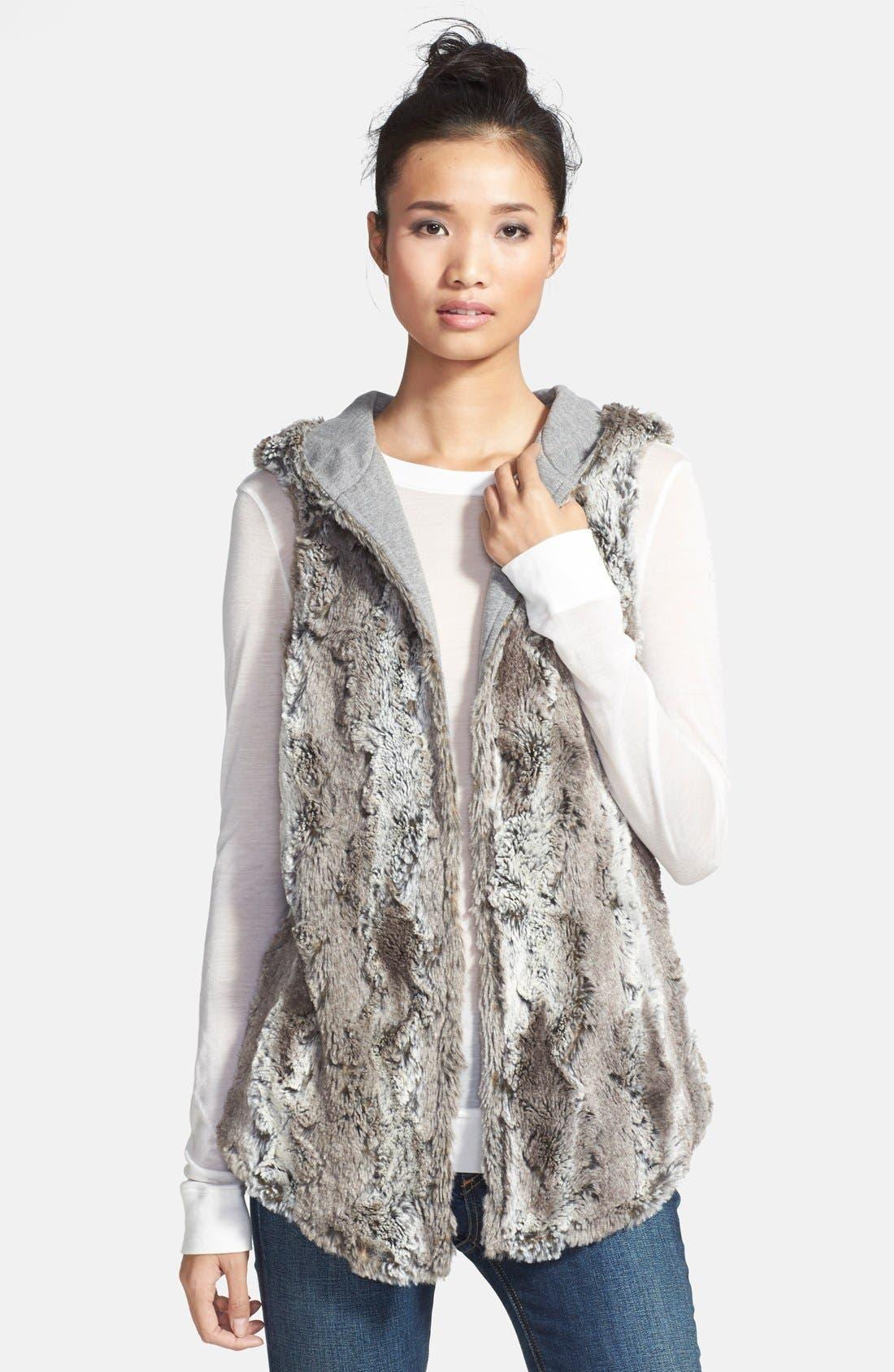Reversible Hooded Faux Fur Vest, Main, color, 032