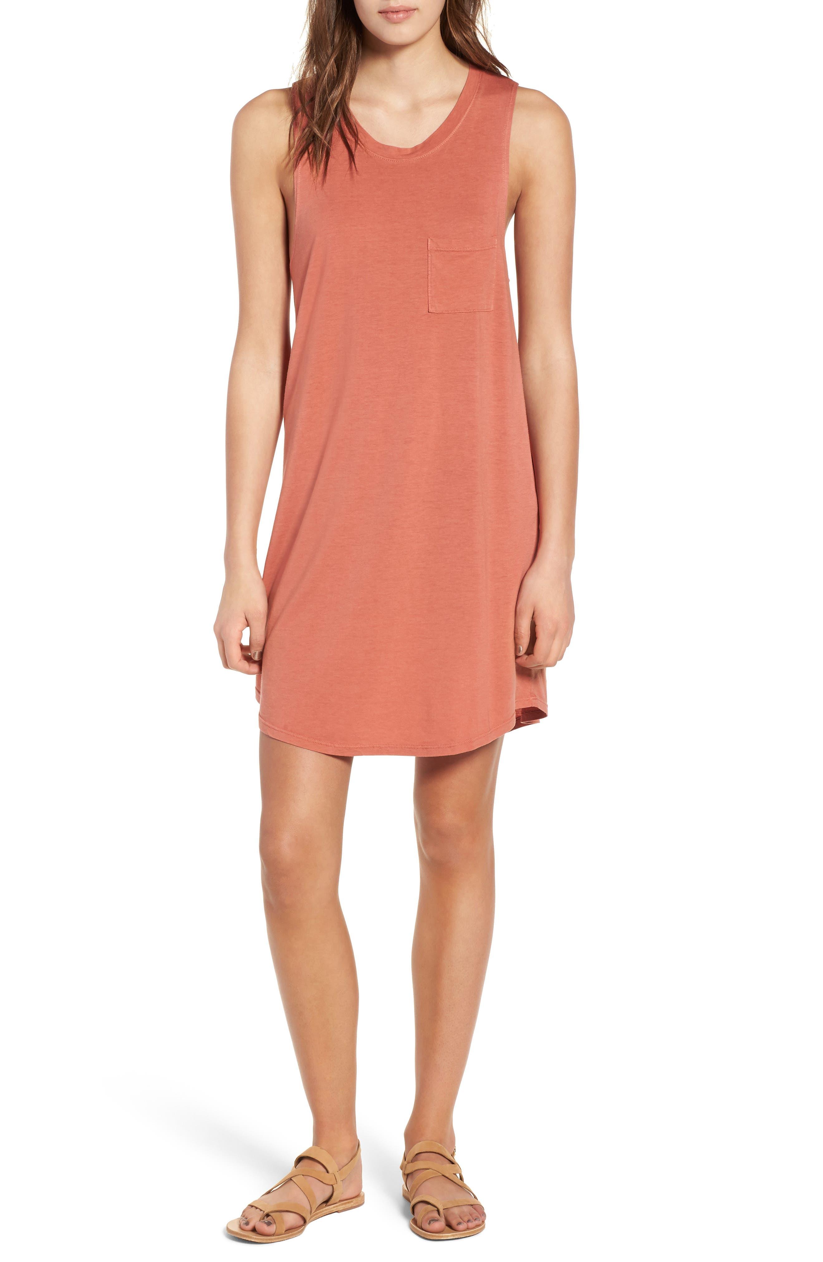 Pocket Tank Dress,                         Main,                         color, PINK DESERT