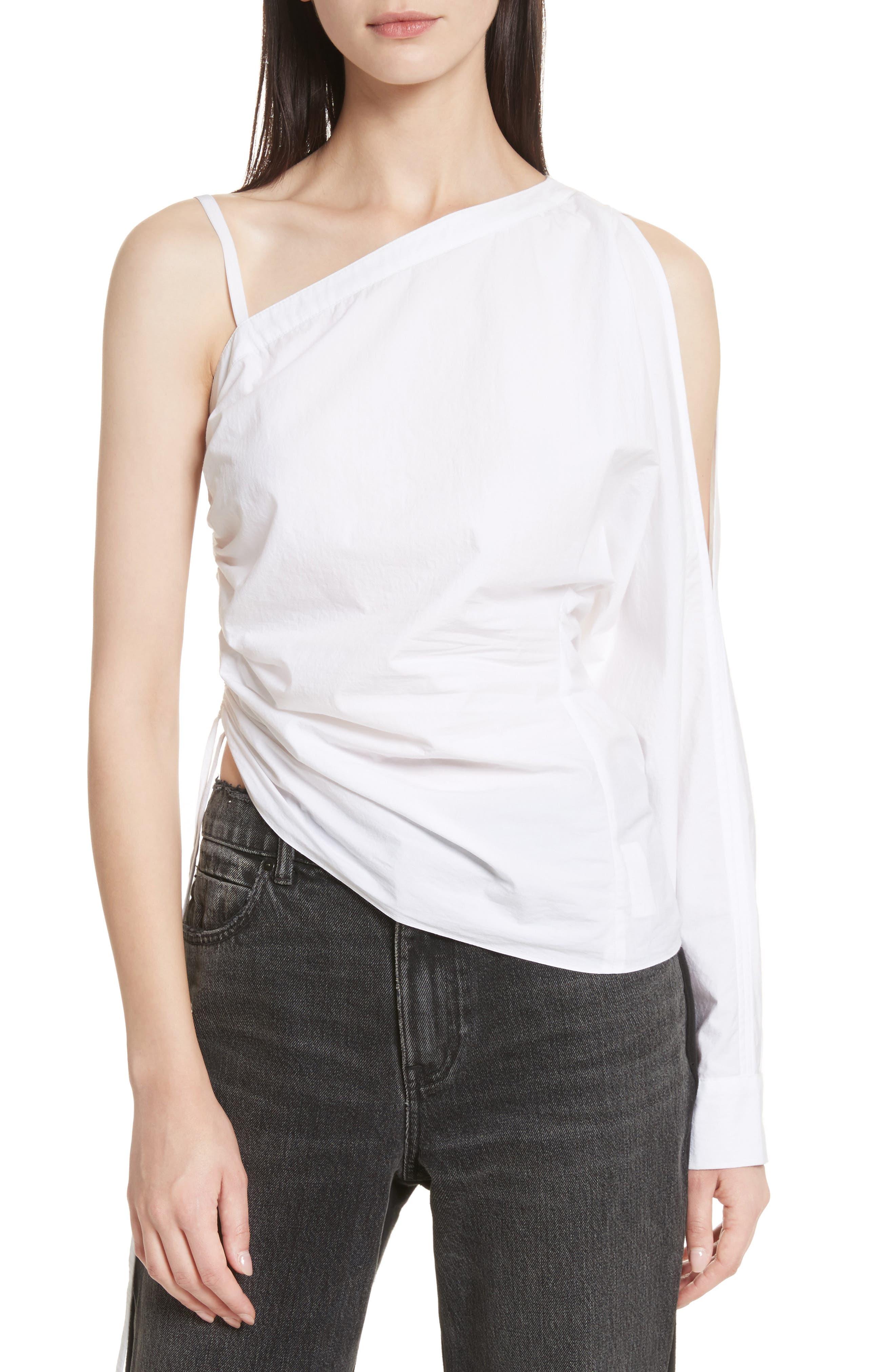 Cotton Poplin One-Shoulder Top,                             Main thumbnail 1, color,                             100