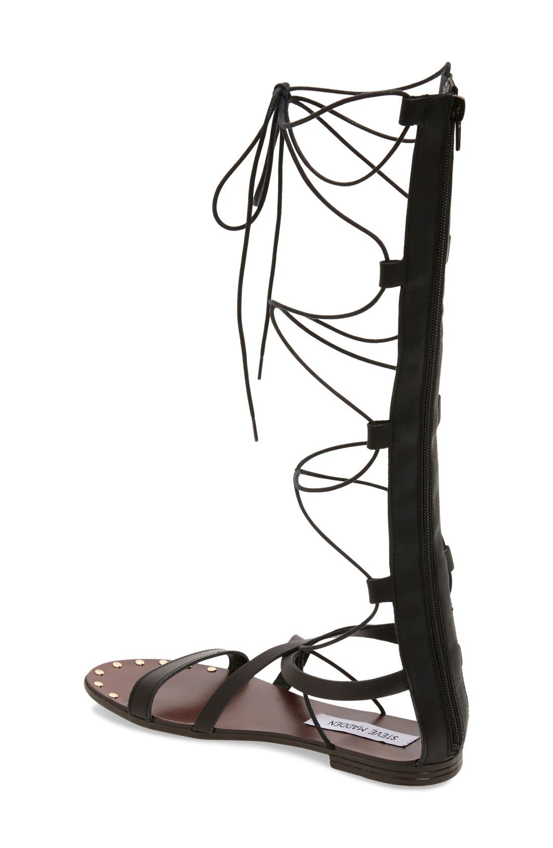 'Justeen' Tall Gladiator Sandal,                             Alternate thumbnail 3, color,                             001