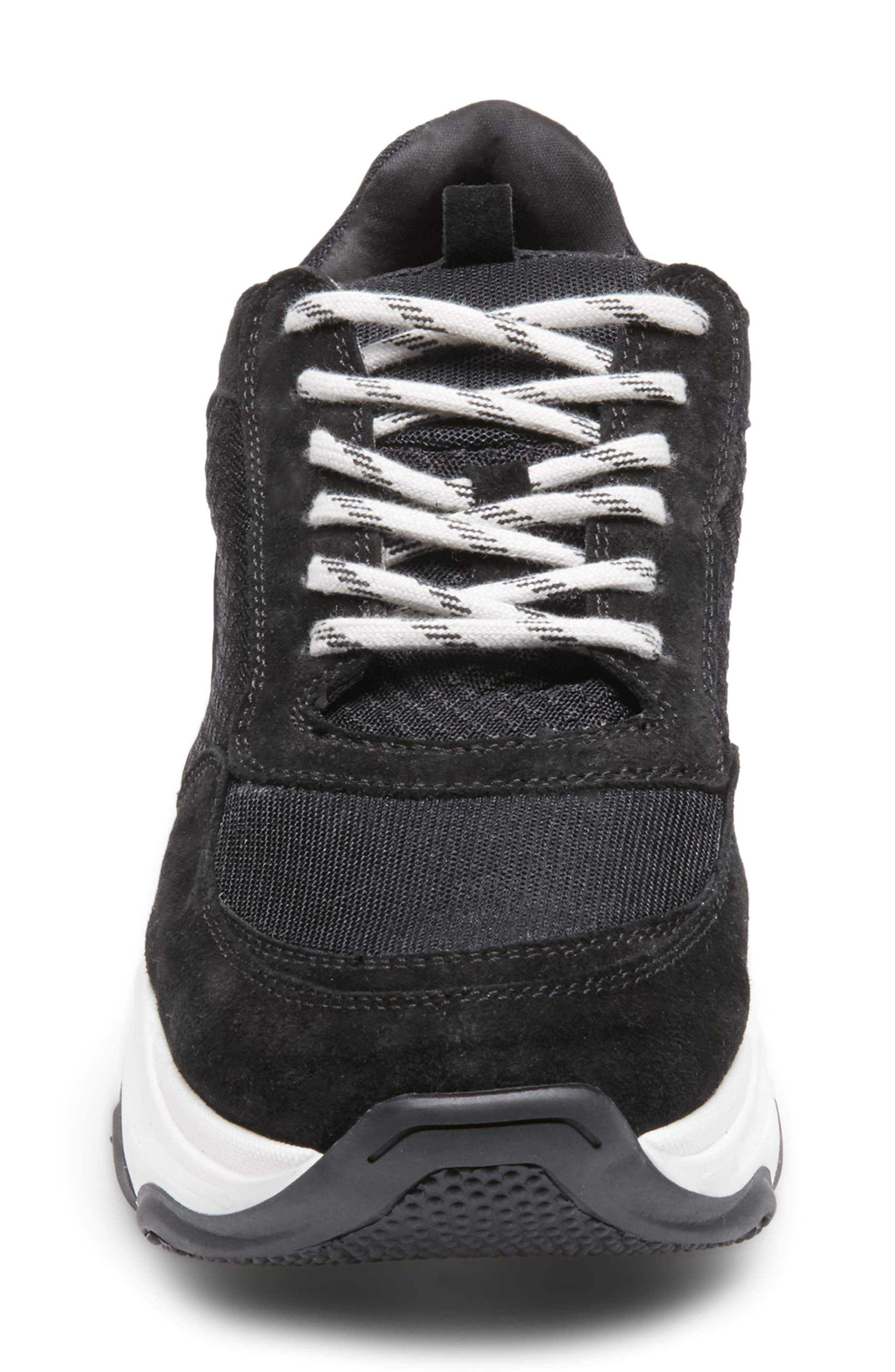 Russell Platform Sneaker,                             Alternate thumbnail 3, color,                             BLACK LEATHER