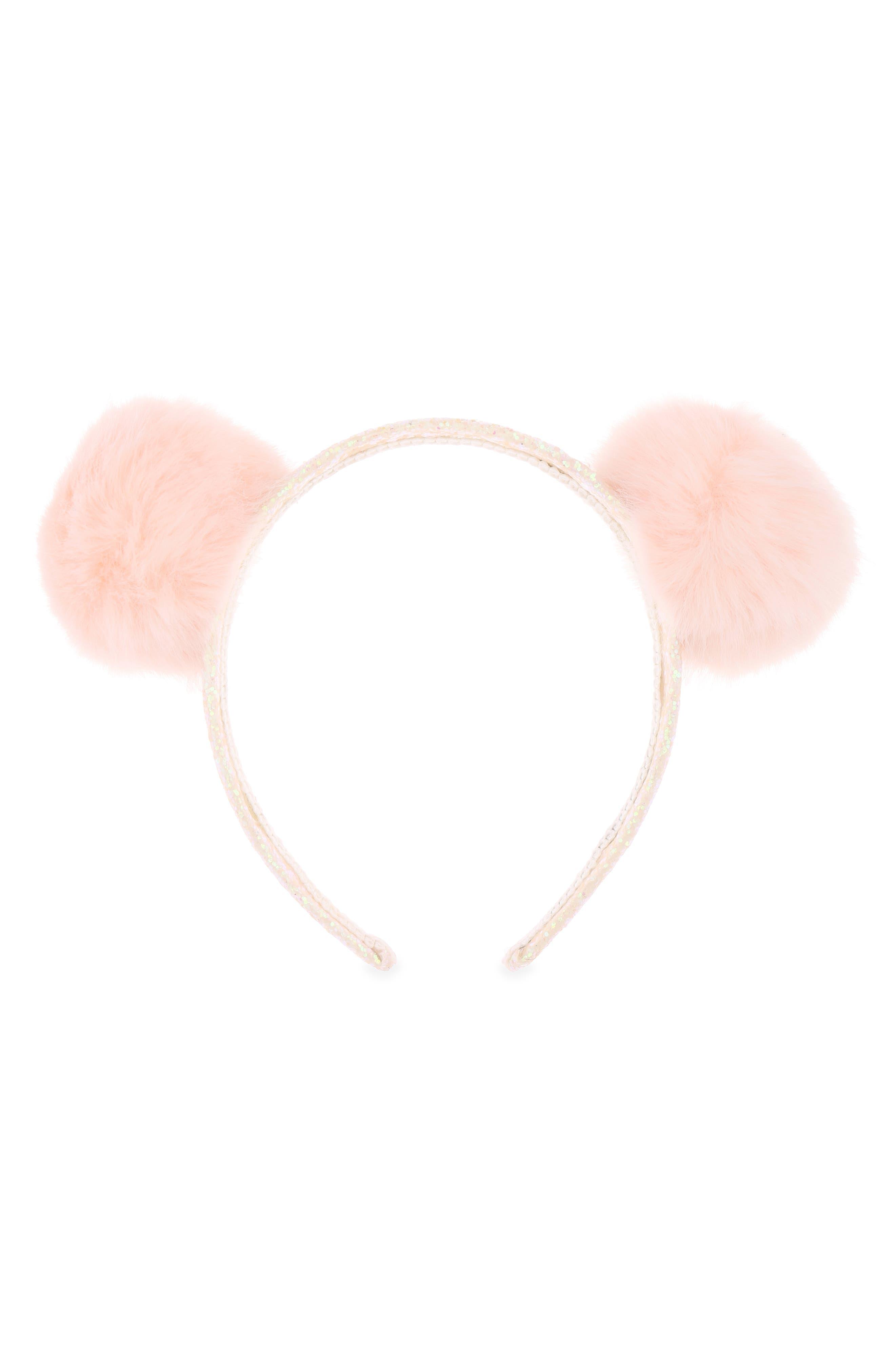 Pom Glitter Headband,                         Main,                         color, PEACH