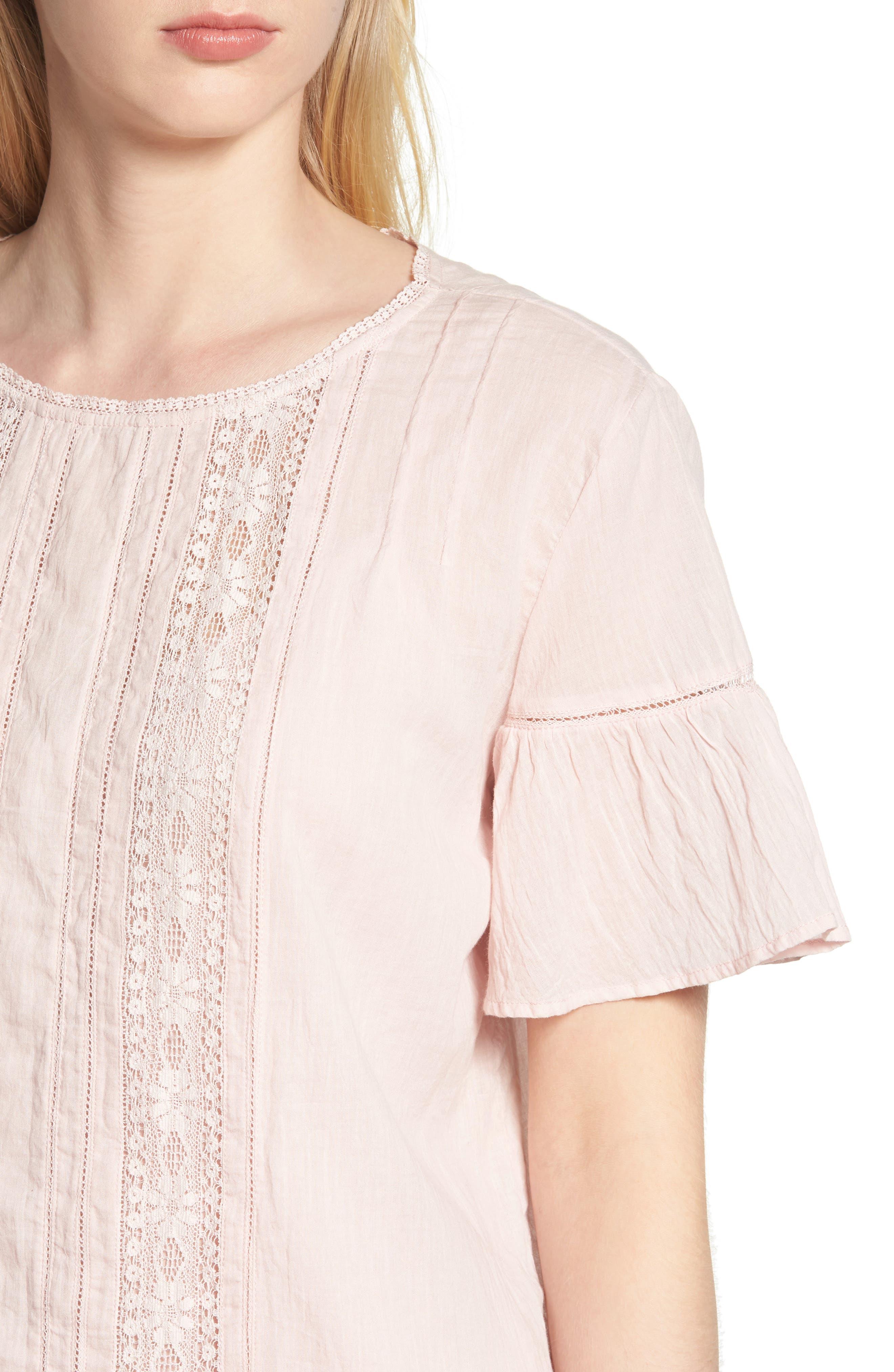 Cotton Lace Blouse,                             Alternate thumbnail 4, color,                             PALE PINK