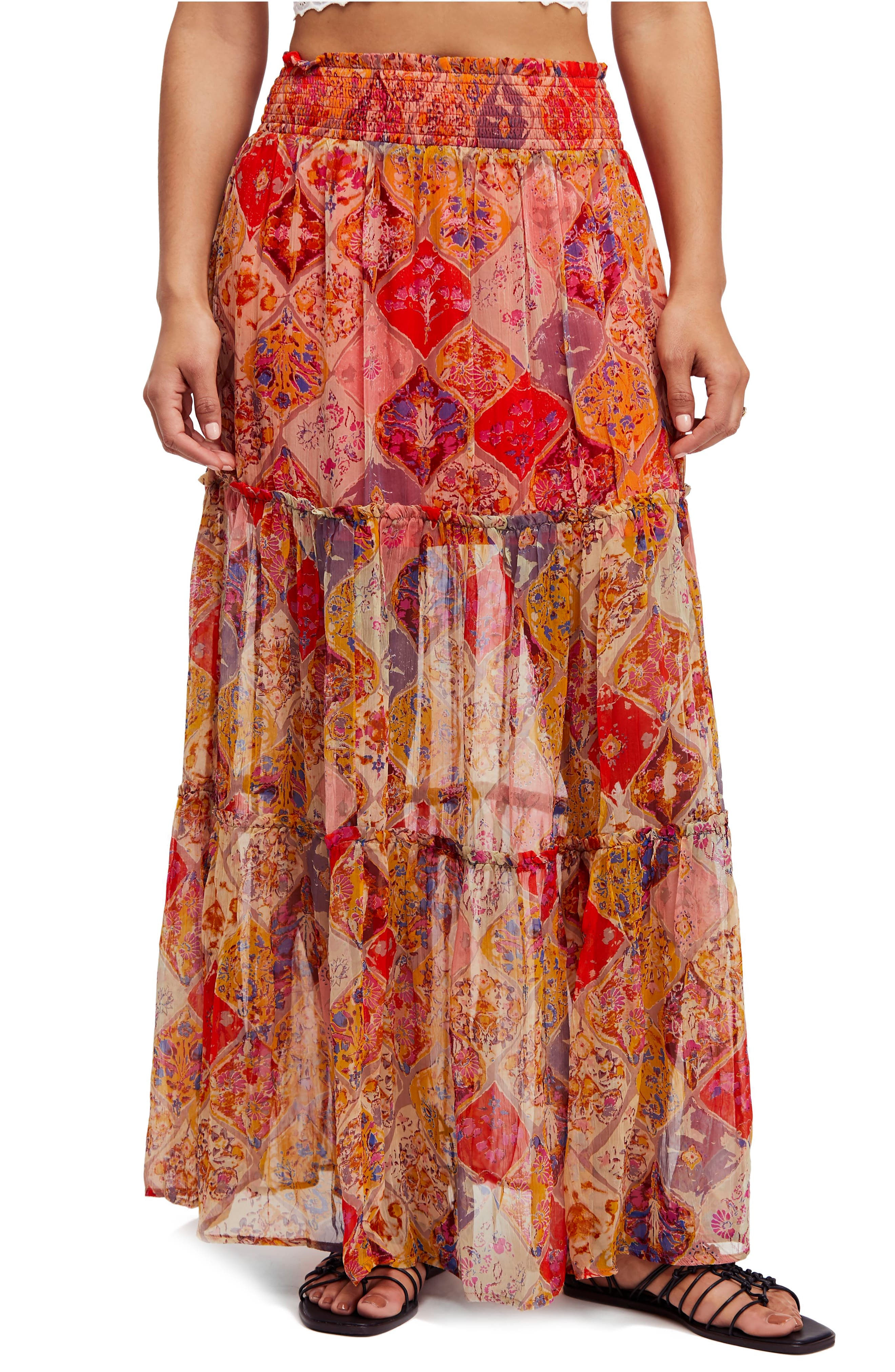 The Great Escape Print Maxi Skirt,                             Main thumbnail 1, color,                             800