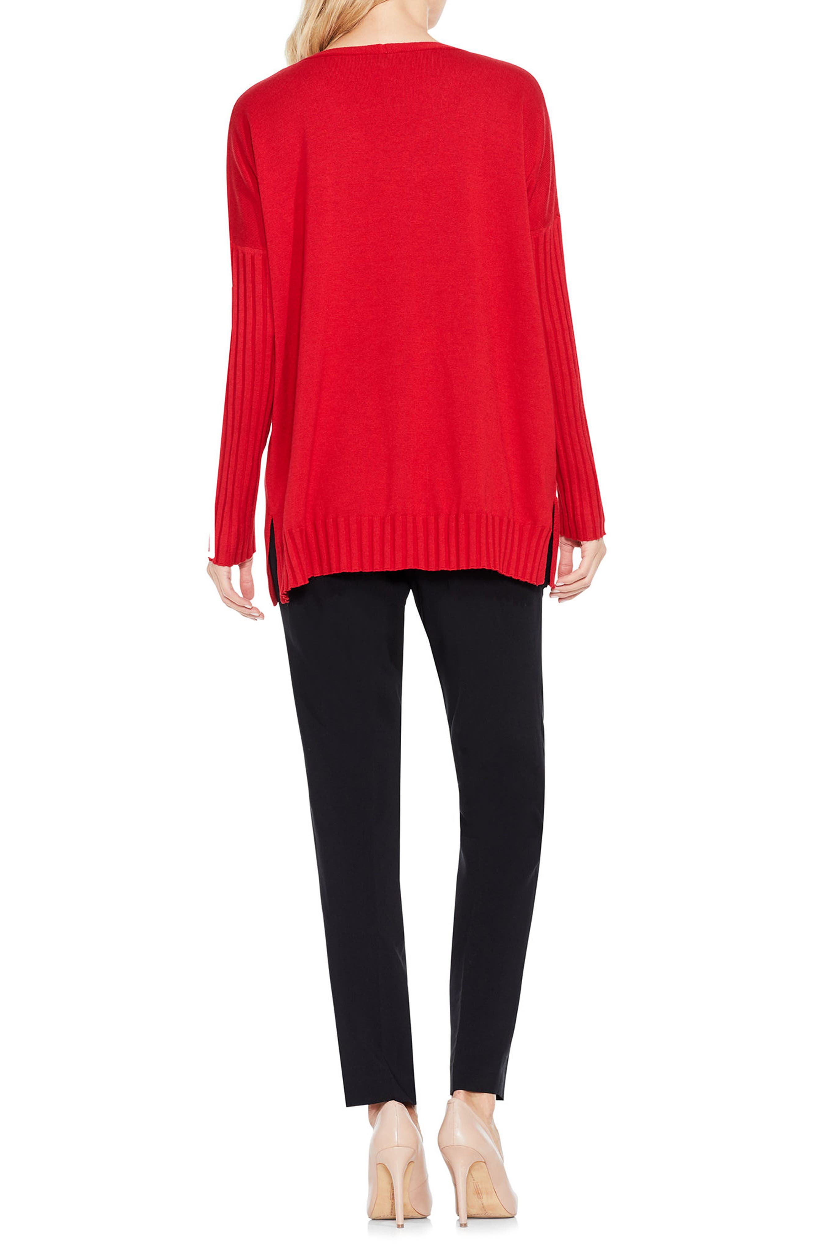 Ribbed Sleeve Sweater,                             Alternate thumbnail 8, color,