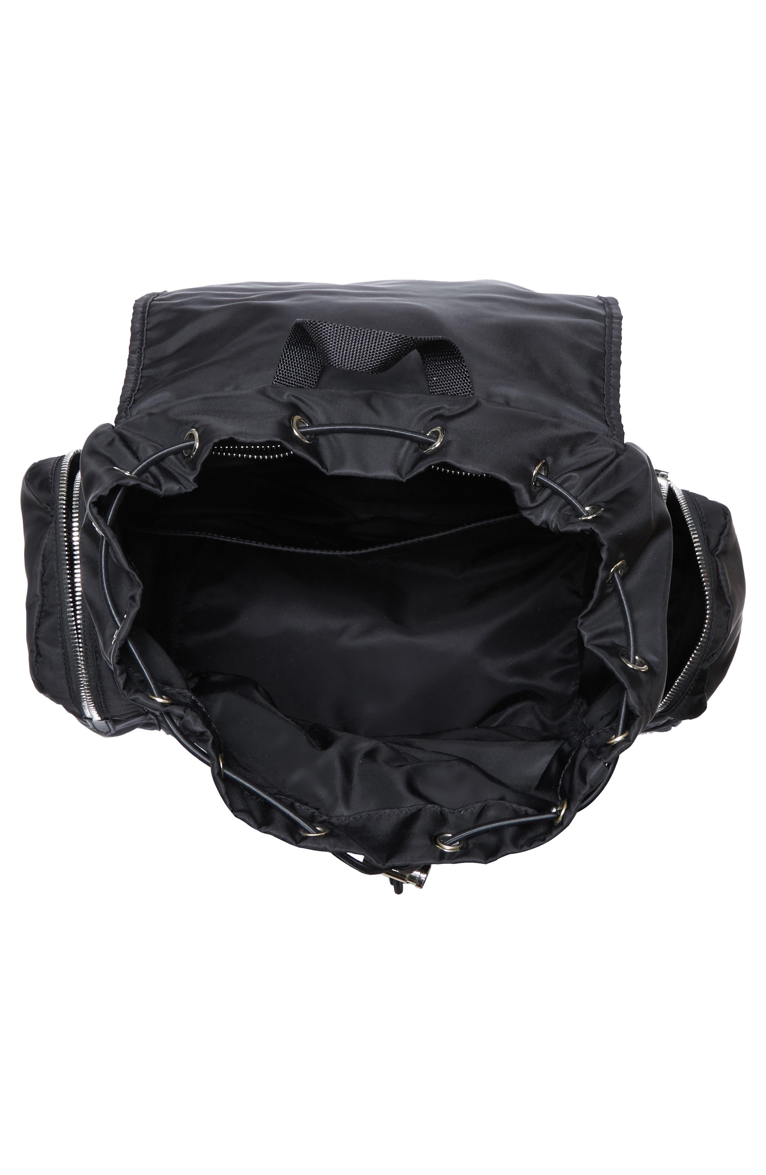 Nylon Flap Backpack,                             Alternate thumbnail 4, color,                             BLACK