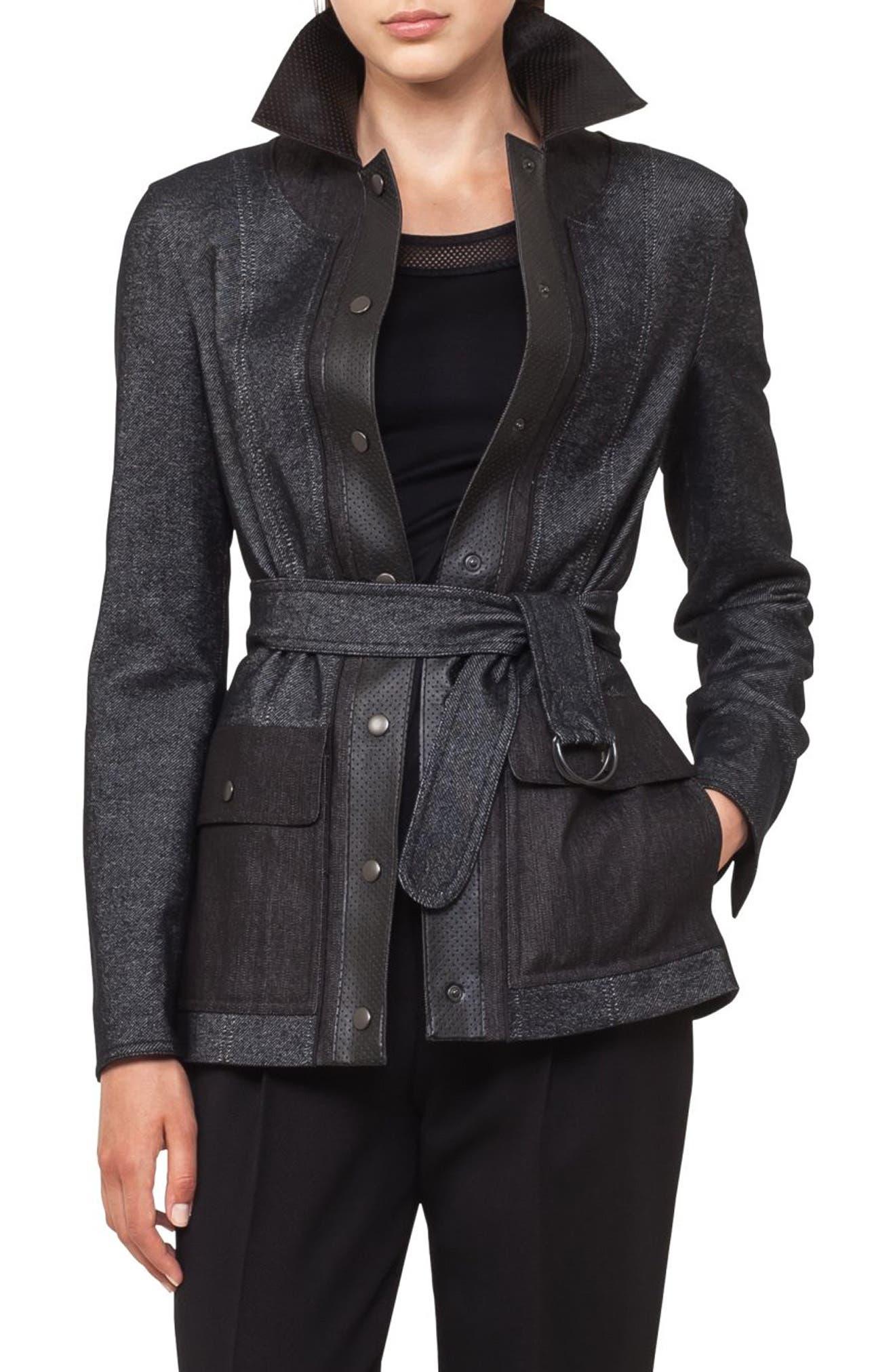 Leather Trim Denim Jacket,                             Main thumbnail 1, color,                             001