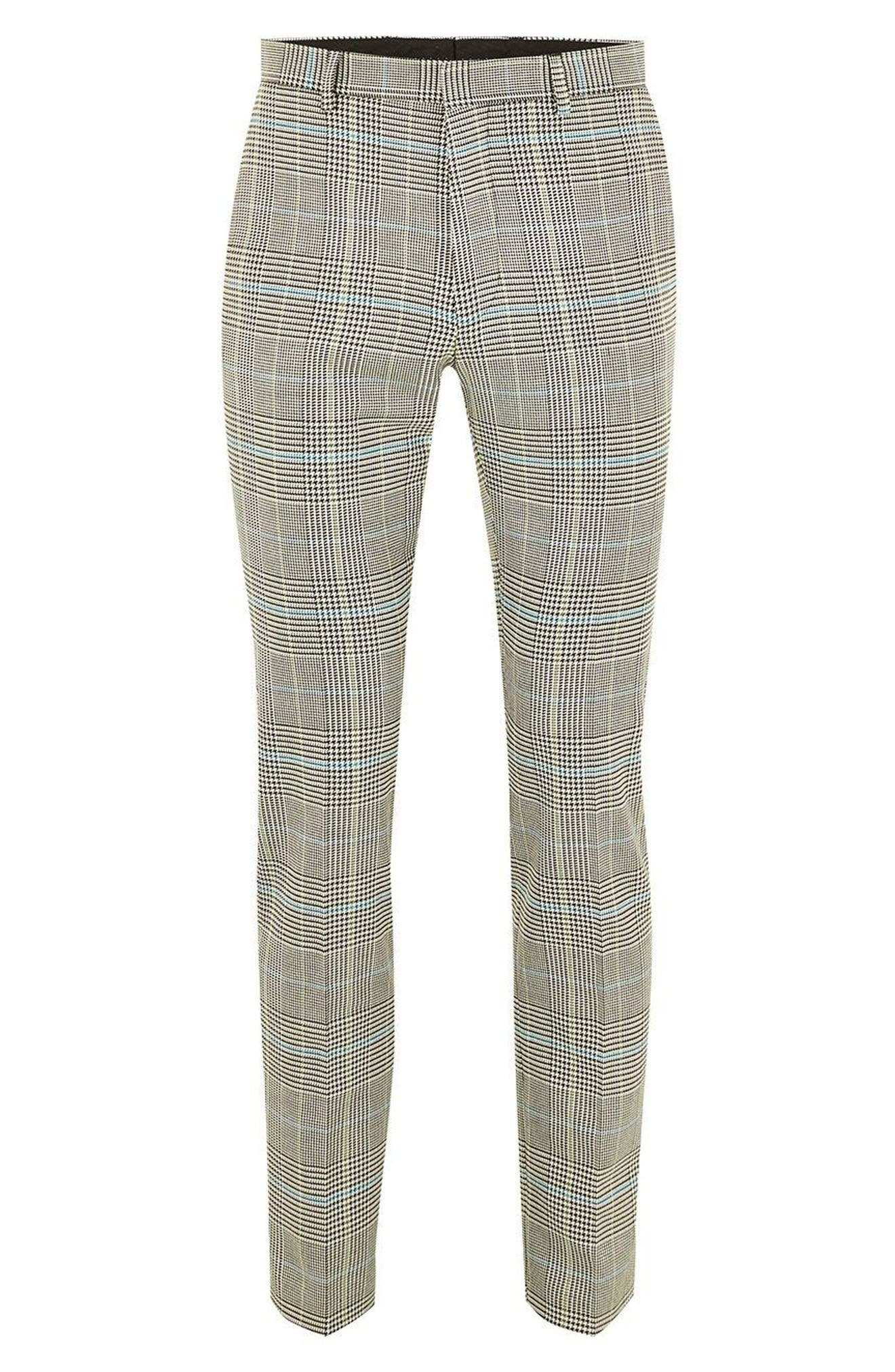 Skinny Fit Houndstooth Suit Trousers,                             Alternate thumbnail 4, color,                             GREY MULTI