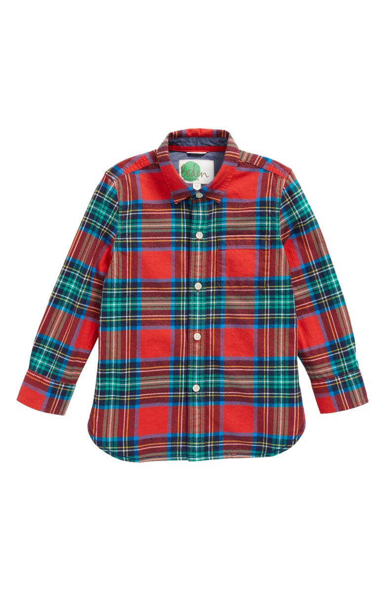 d144776a3af Mini Boden Cozy Festive Plaid Shirt (Toddler Boys