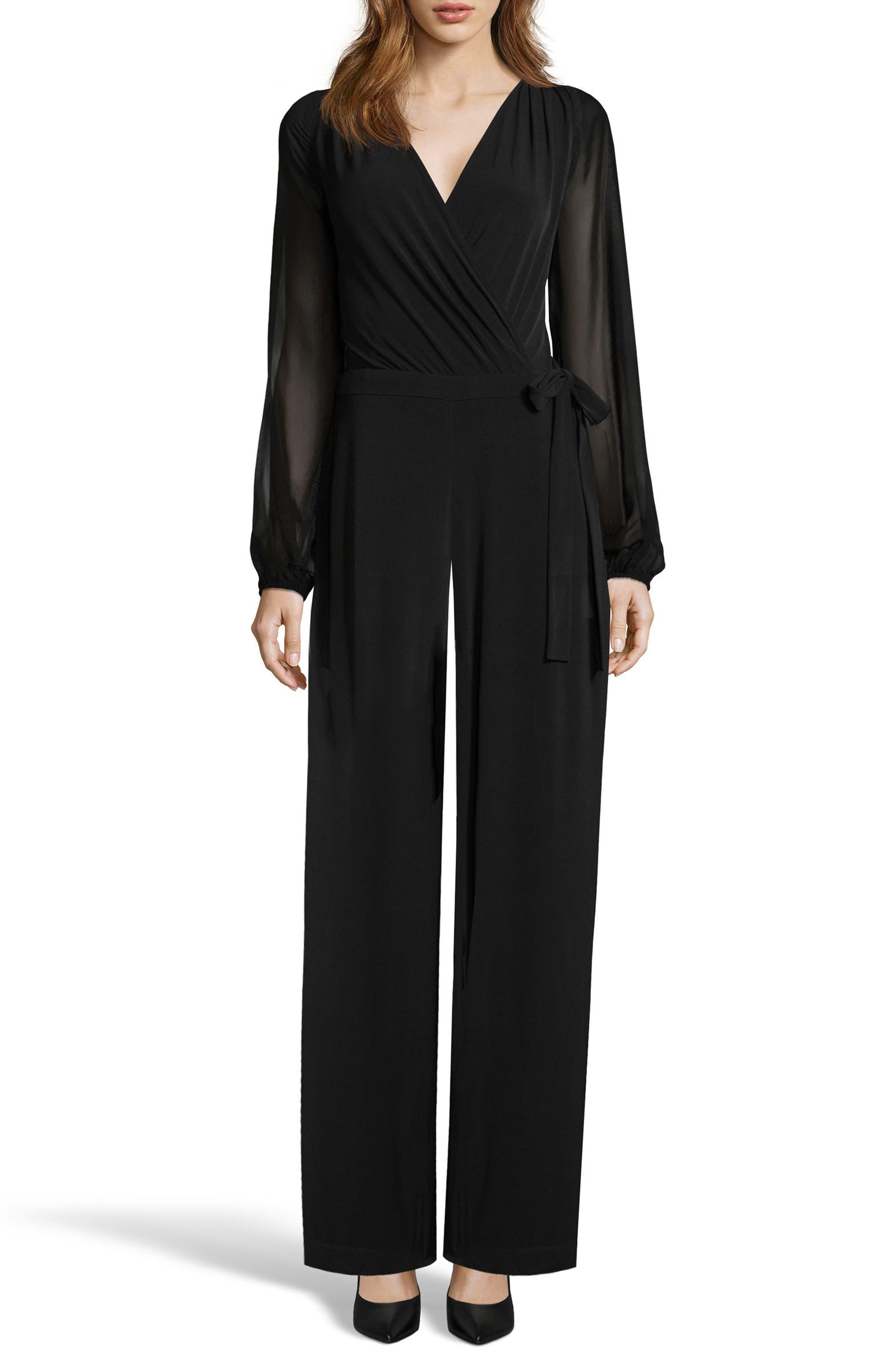 Sheer Sleeve Jumpsuit,                         Main,                         color, 001
