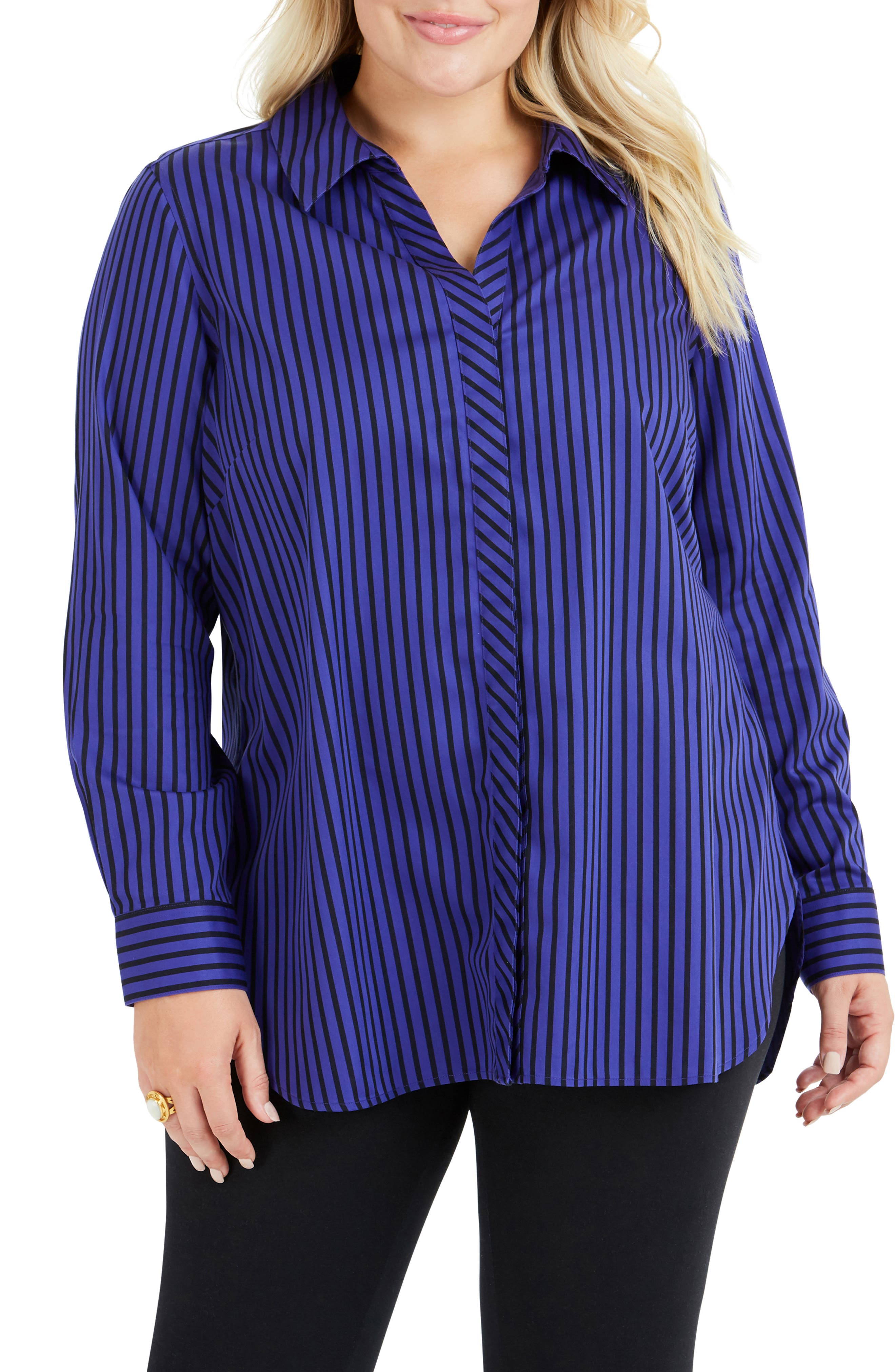 Vera Holiday Stripe Tunic Shirt,                             Main thumbnail 1, color,                             REGAL PURPLE