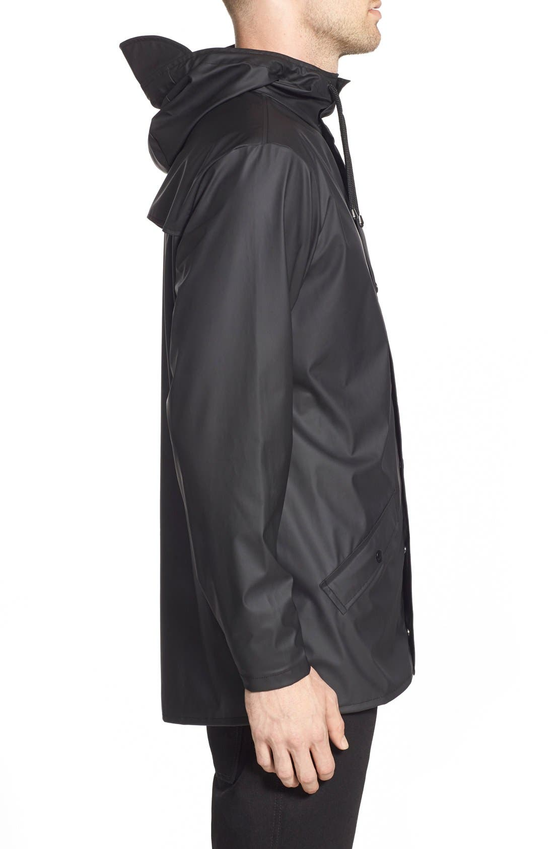Lightweight Hooded Rain Jacket,                             Alternate thumbnail 3, color,                             BLACK