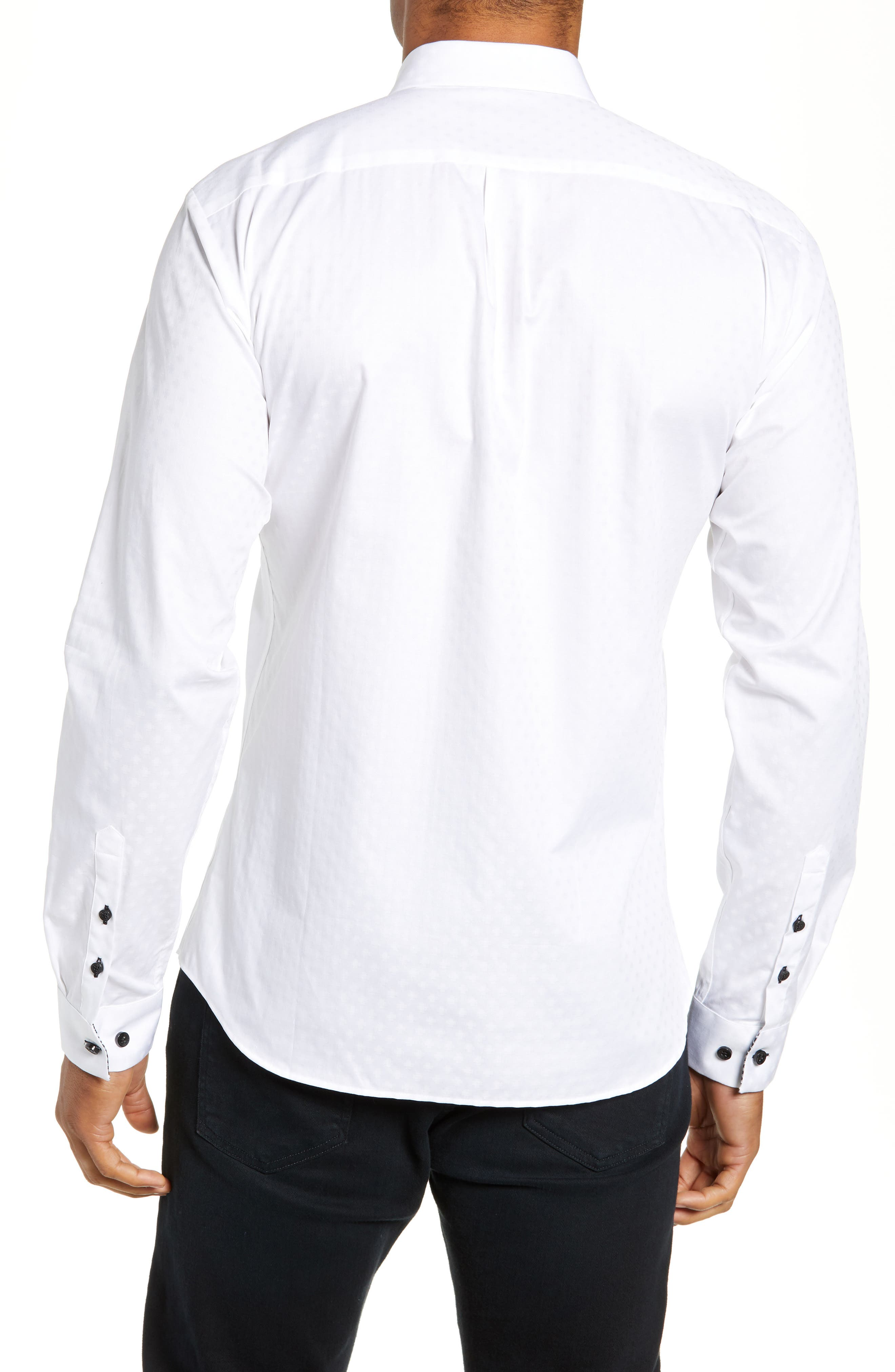 Trim Fit Sport Shirt,                             Alternate thumbnail 3, color,                             WHITE