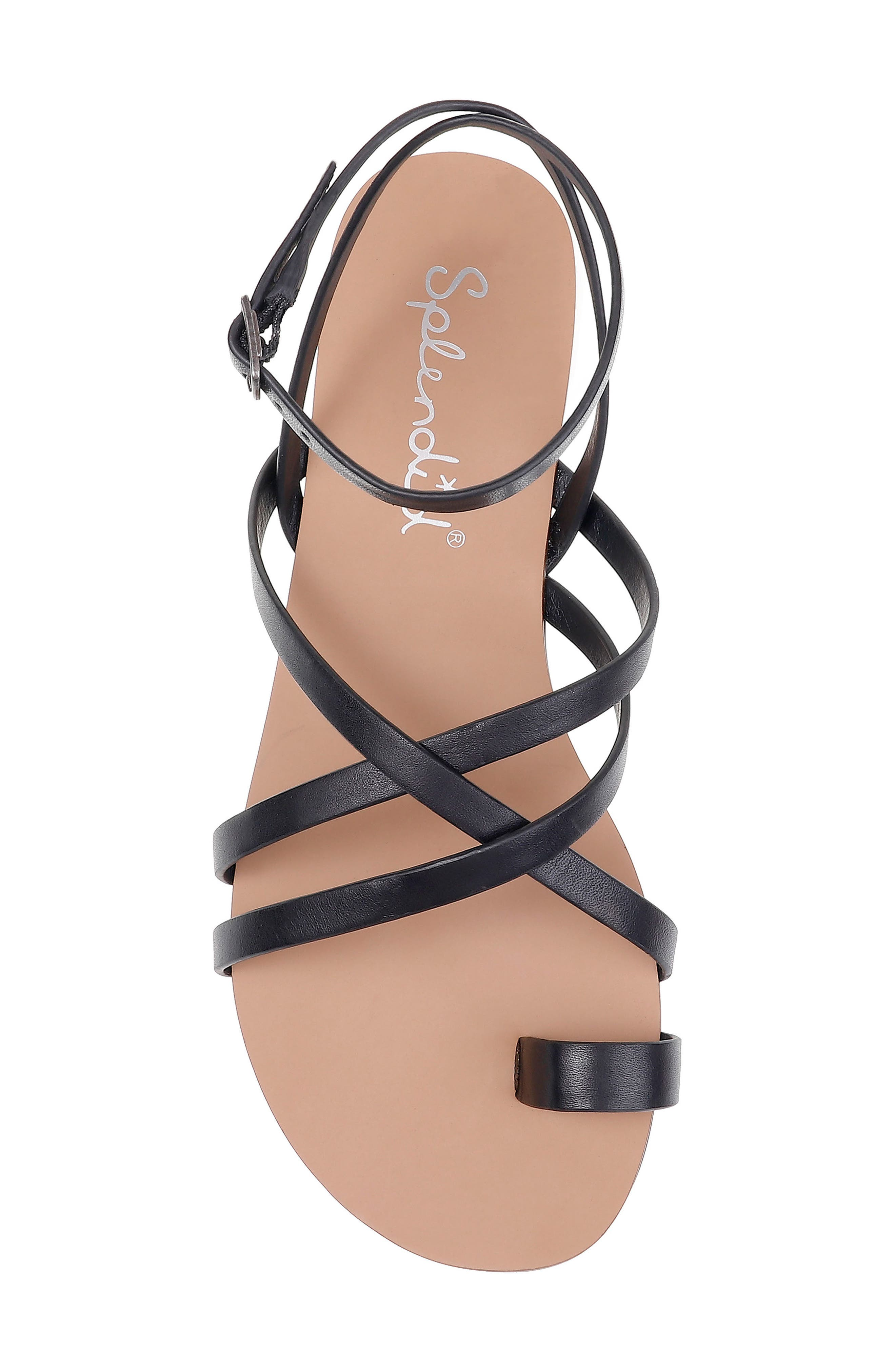 Sully Strappy Toe Loop Sandal,                             Alternate thumbnail 5, color,                             BLACK LEATHER