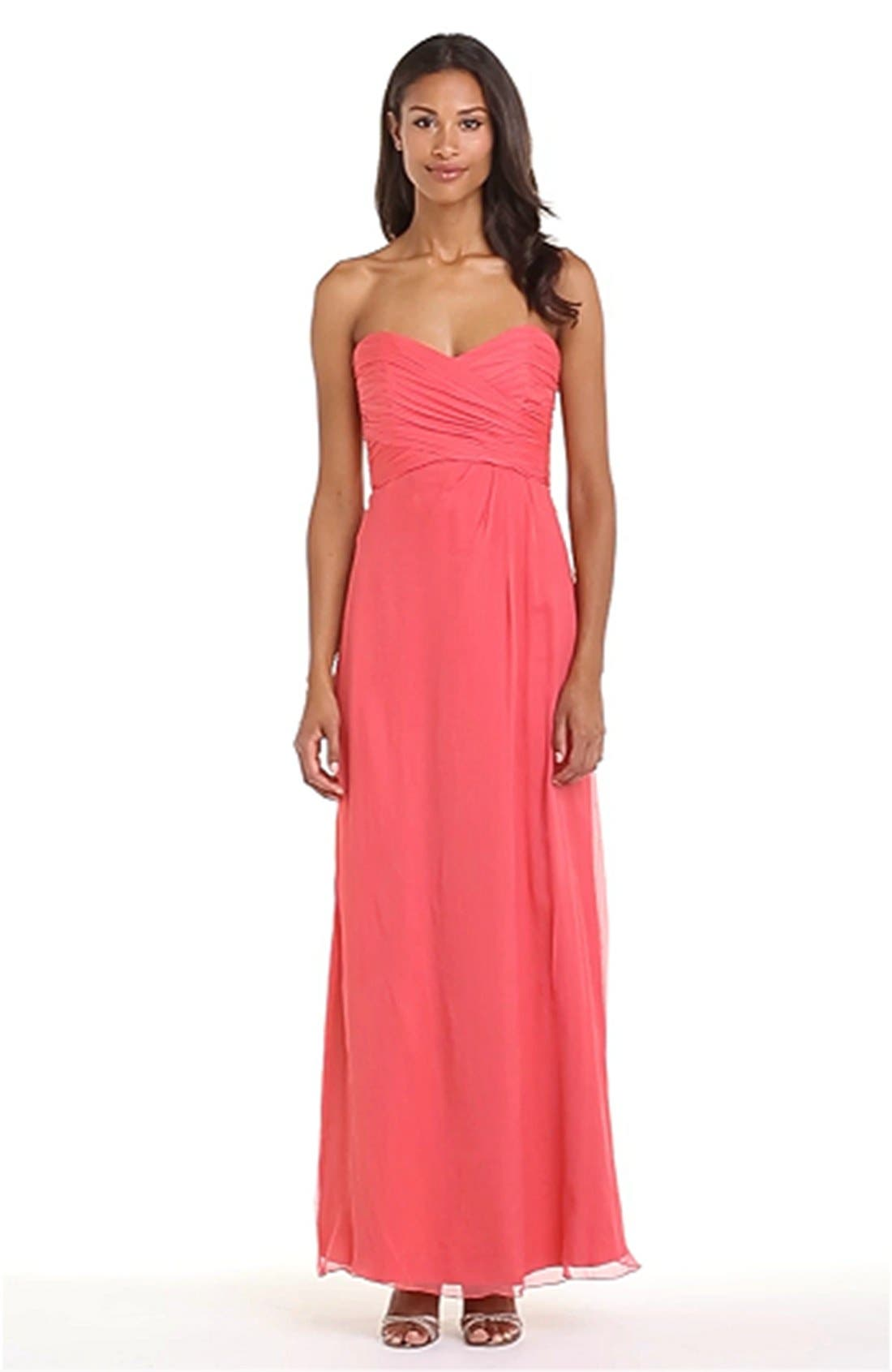 Strapless Crinkle Chiffon Gown,                             Alternate thumbnail 34, color,