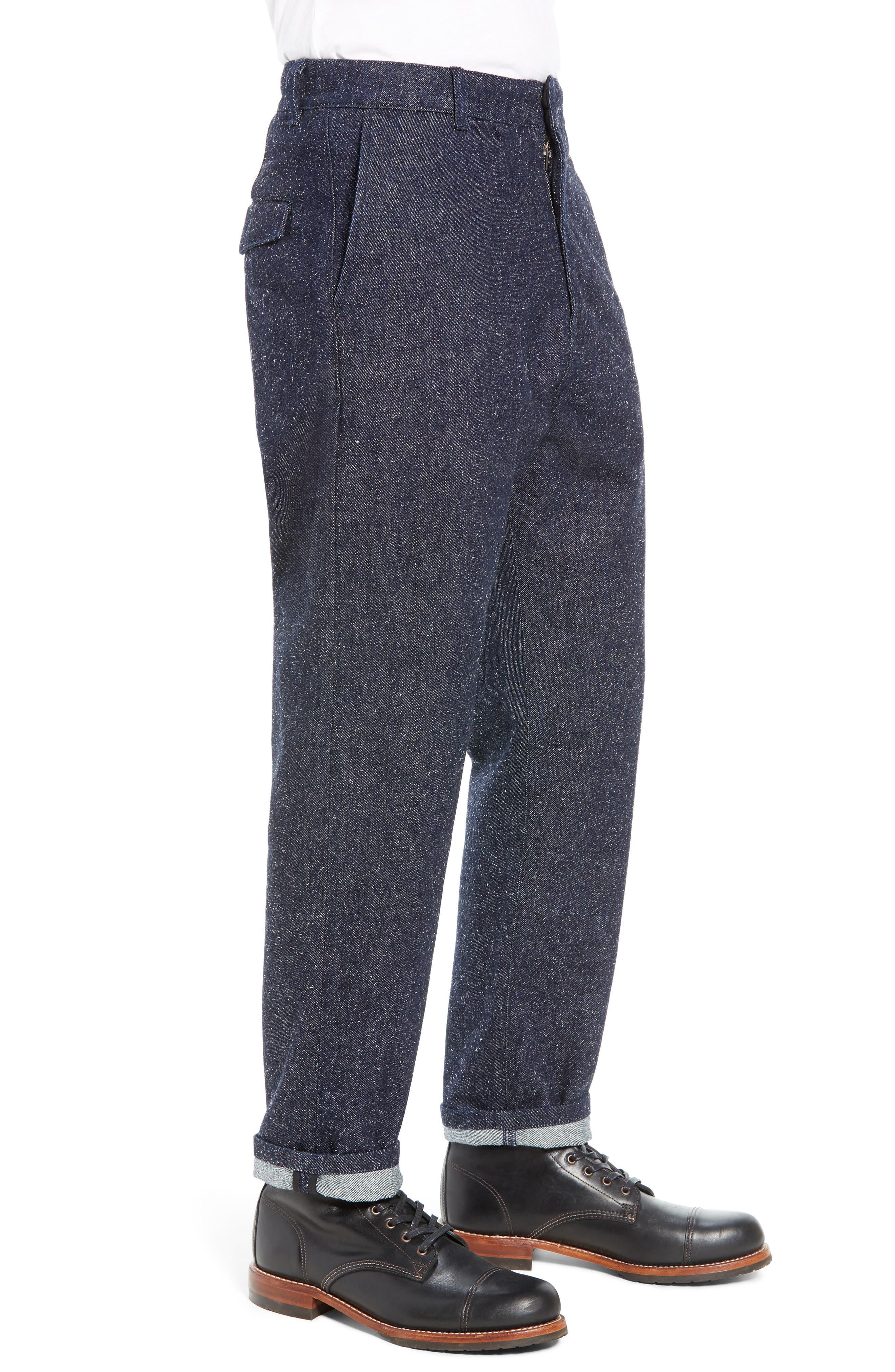 Tapered Straight Leg Cotton & Silk Trousers,                             Alternate thumbnail 3, color,                             NEPPY DENIM