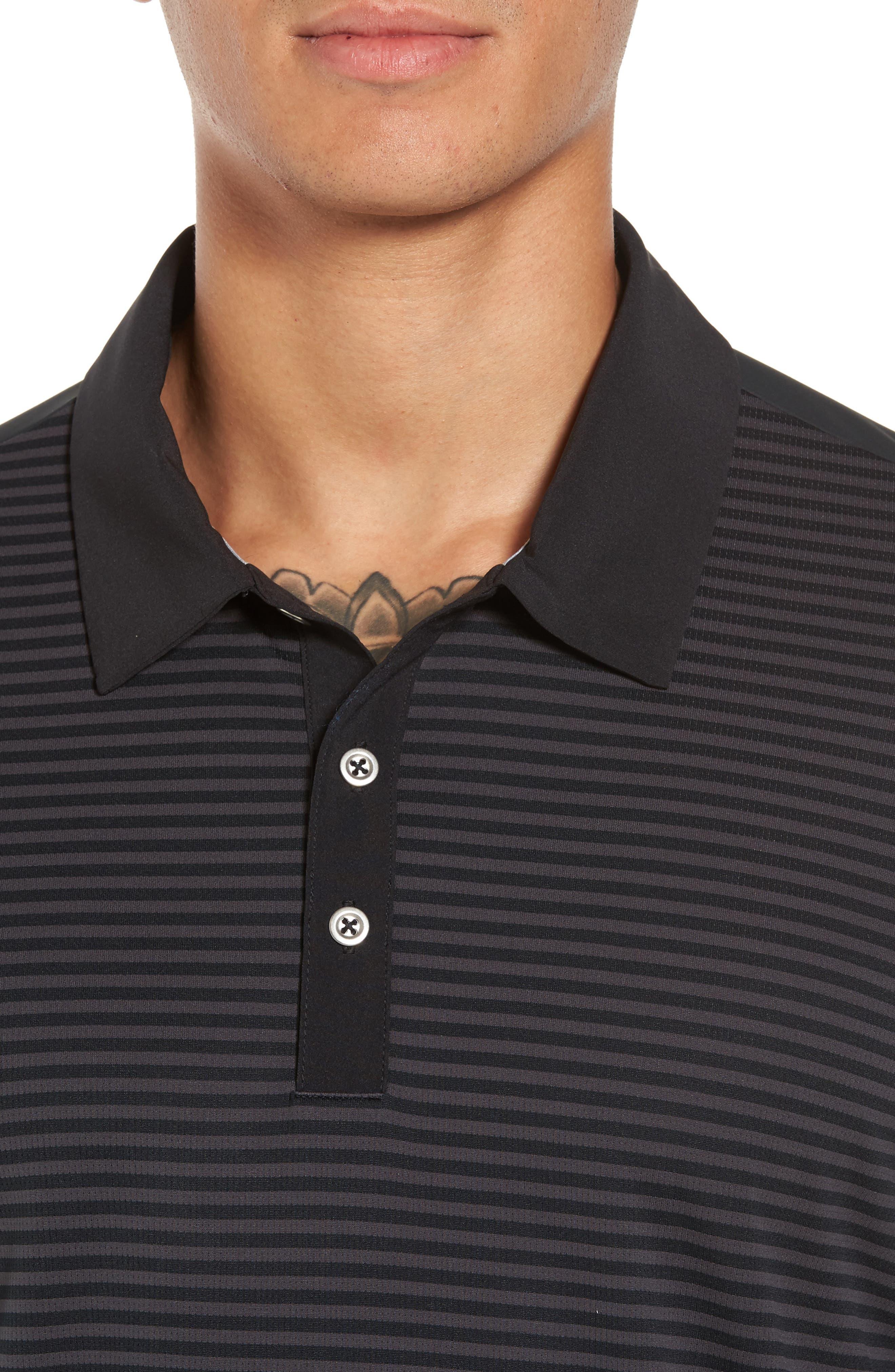 Climachill<sup>®</sup> Stripe Golf Polo,                             Alternate thumbnail 4, color,                             001