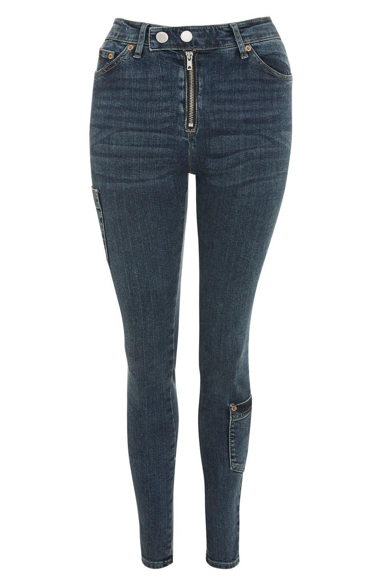 Jamie Utility High Rise Skinny Jeans,                             Alternate thumbnail 4, color,