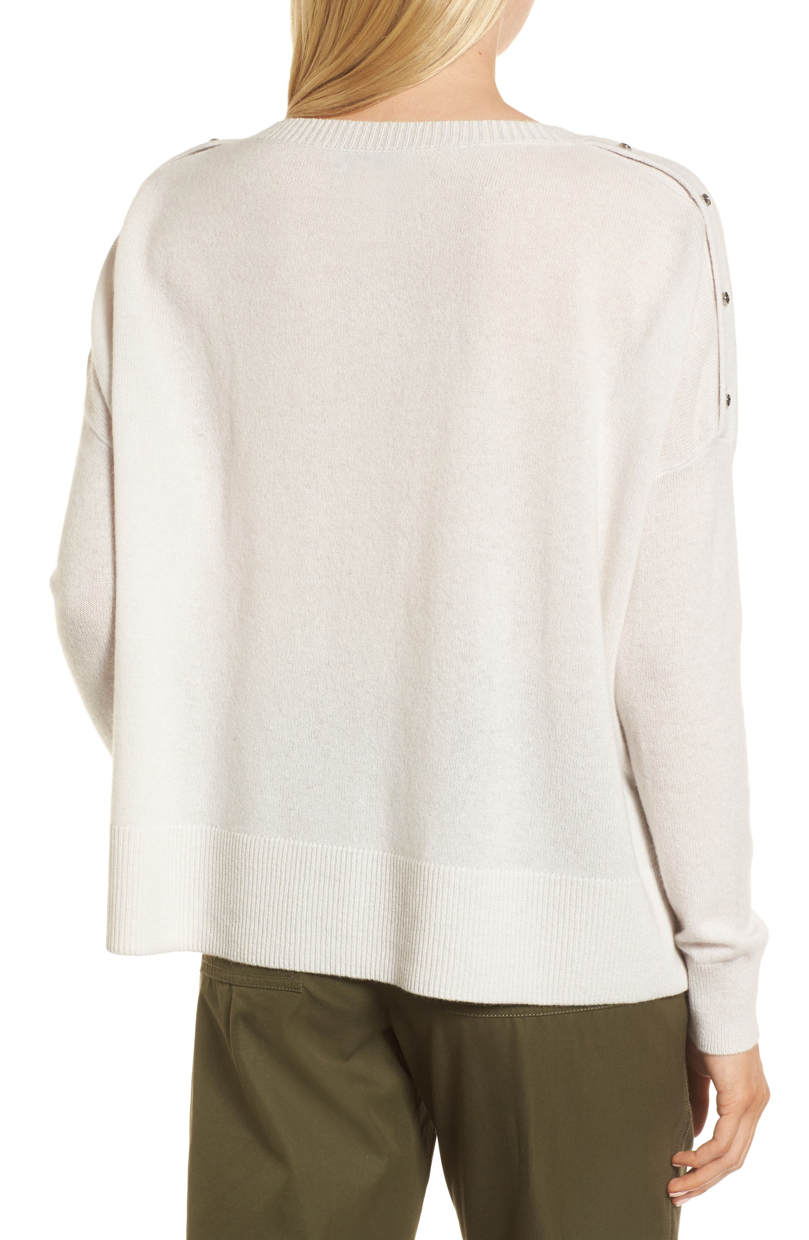Button Detail Cashmere Sweater,                             Alternate thumbnail 3, color,