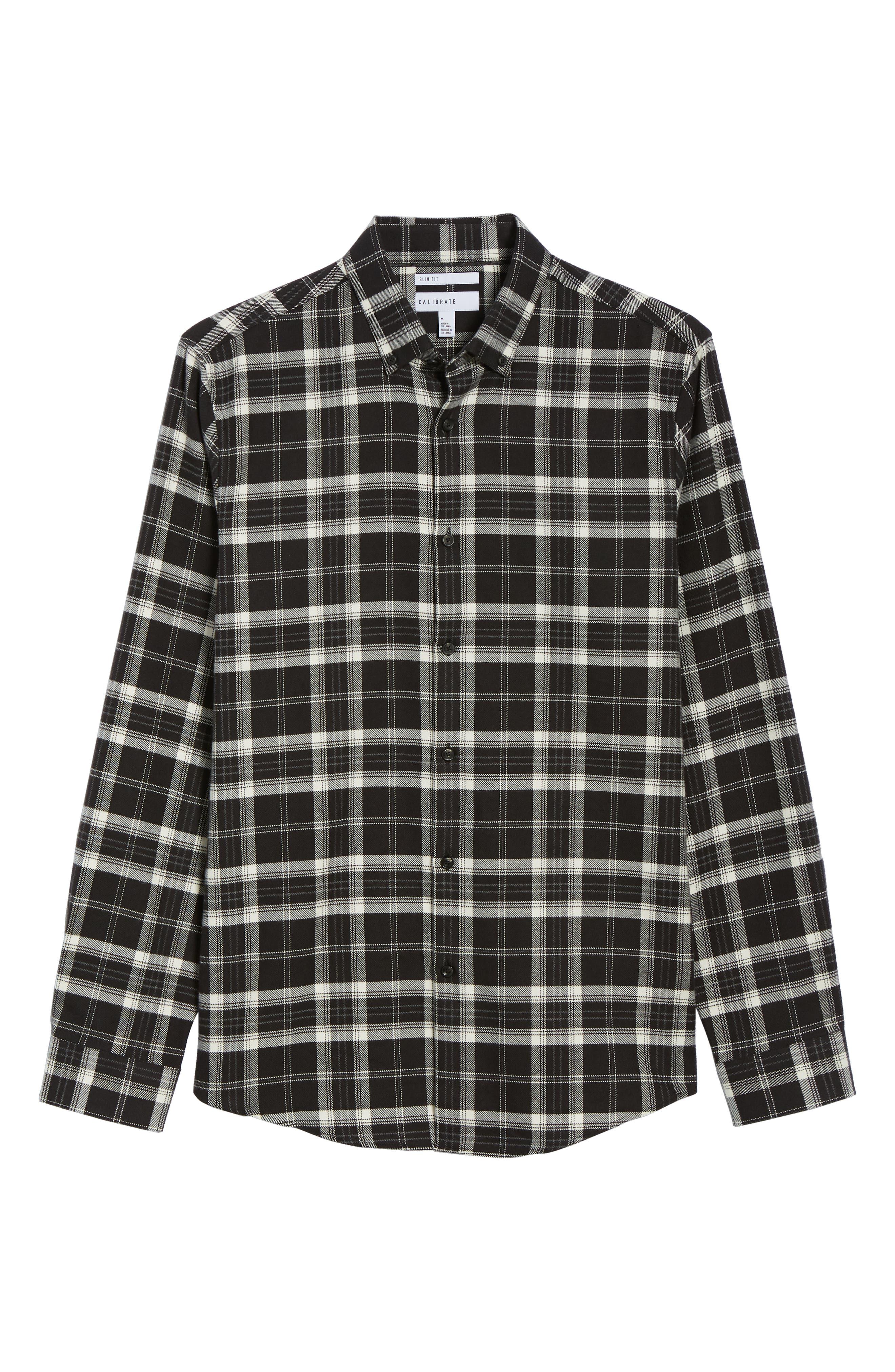 Slim Fit Mini Collar Plaid Flannel Sport Shirt,                             Alternate thumbnail 6, color,                             001