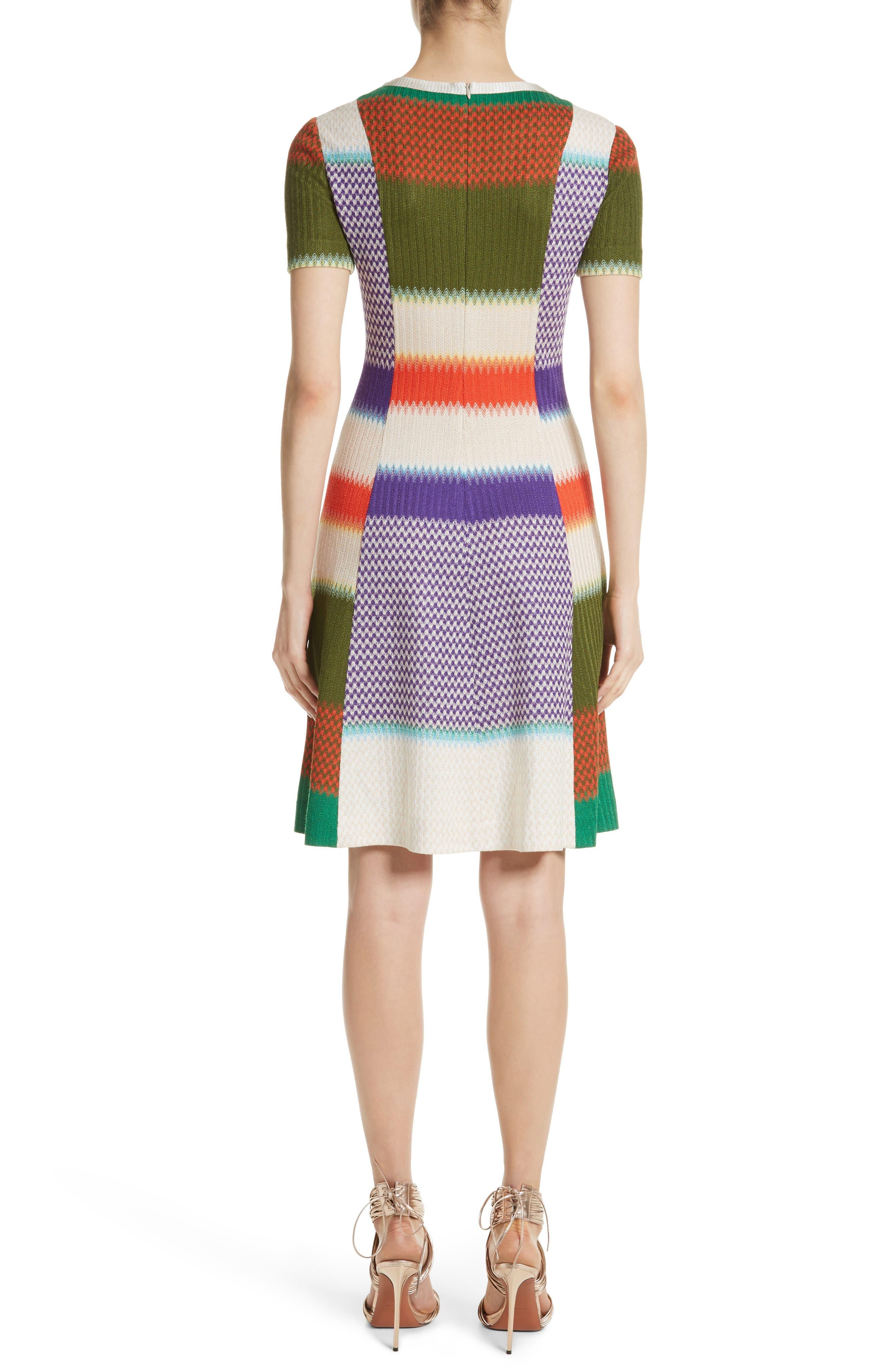Multi Knit Flare Dress,                             Alternate thumbnail 2, color,                             540