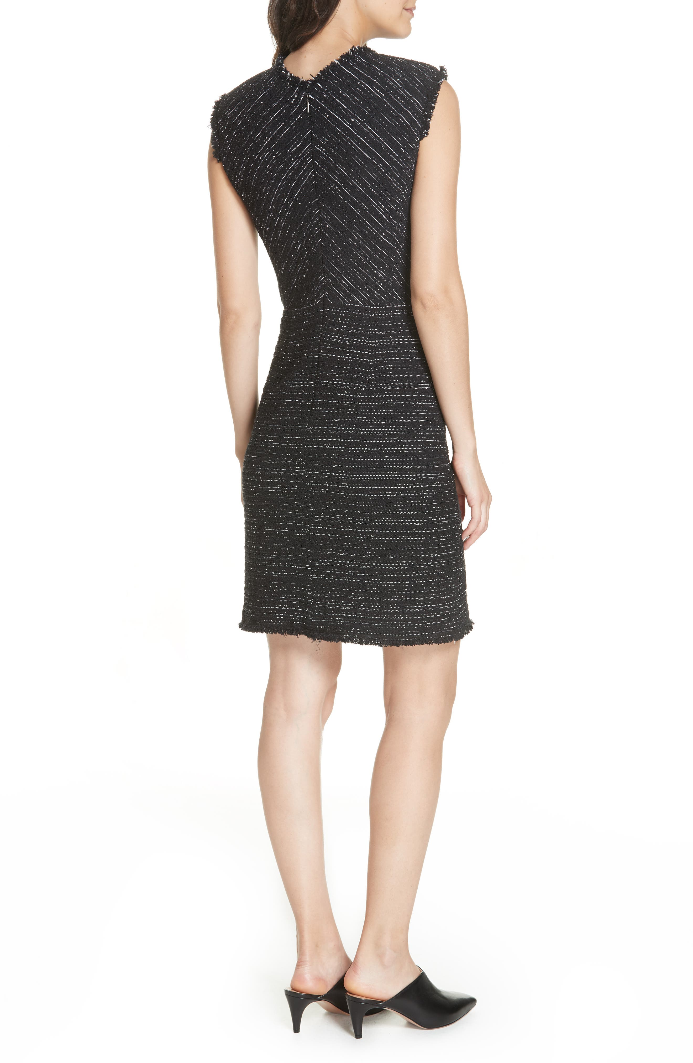 Stretch Cotton Blend Tweed Sheath Dress,                             Alternate thumbnail 2, color,                             BLACK COMBO