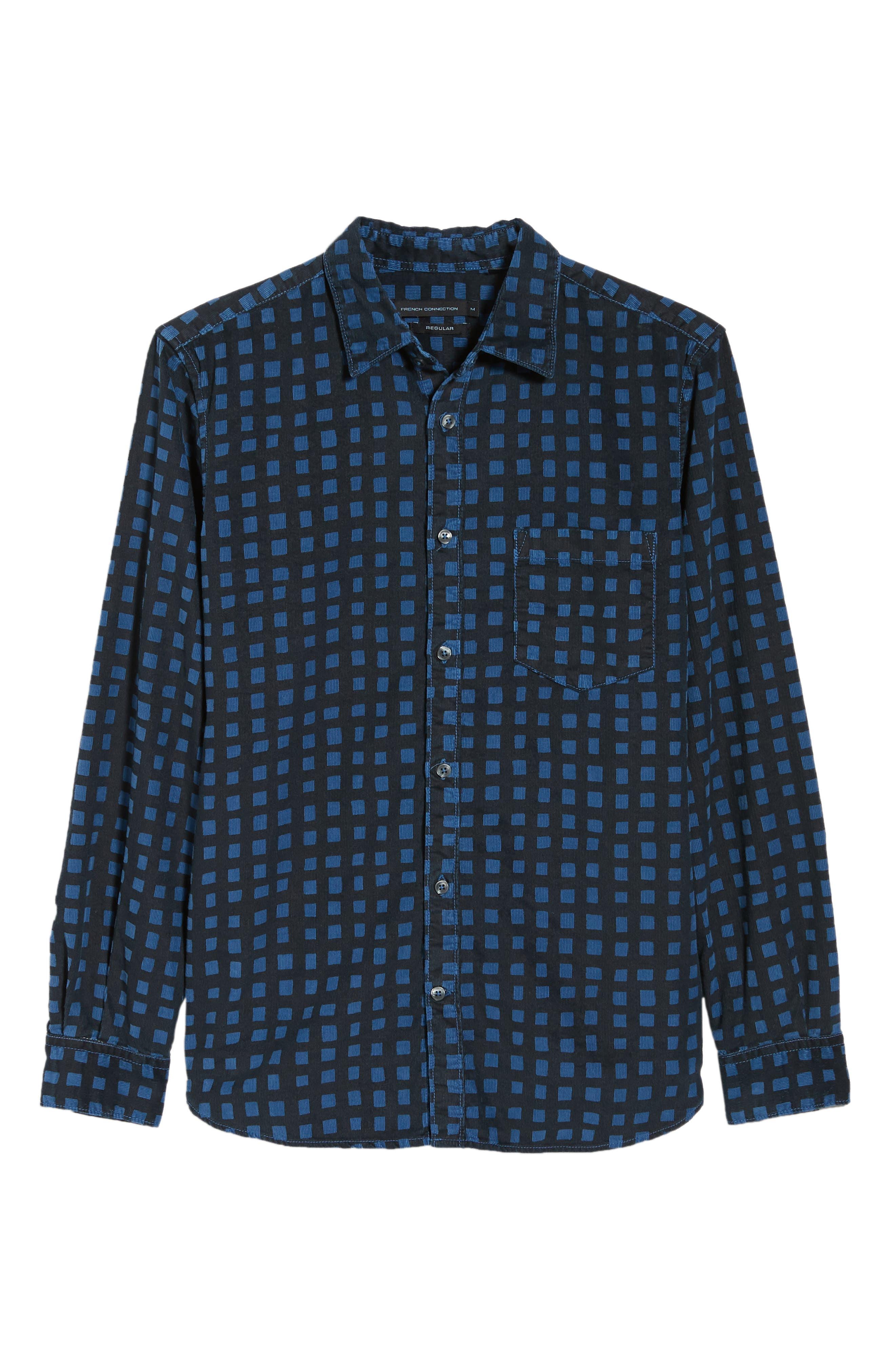 Gridlock Regular Fit Corduroy Shirt,                             Alternate thumbnail 5, color,                             FATHOM BLUE