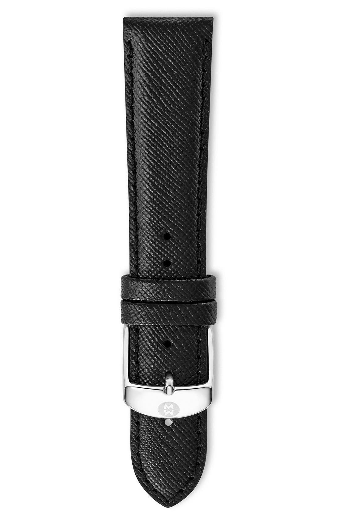 MICHELE,                             20mm Saffiano Leather Watch Strap,                             Main thumbnail 1, color,                             001