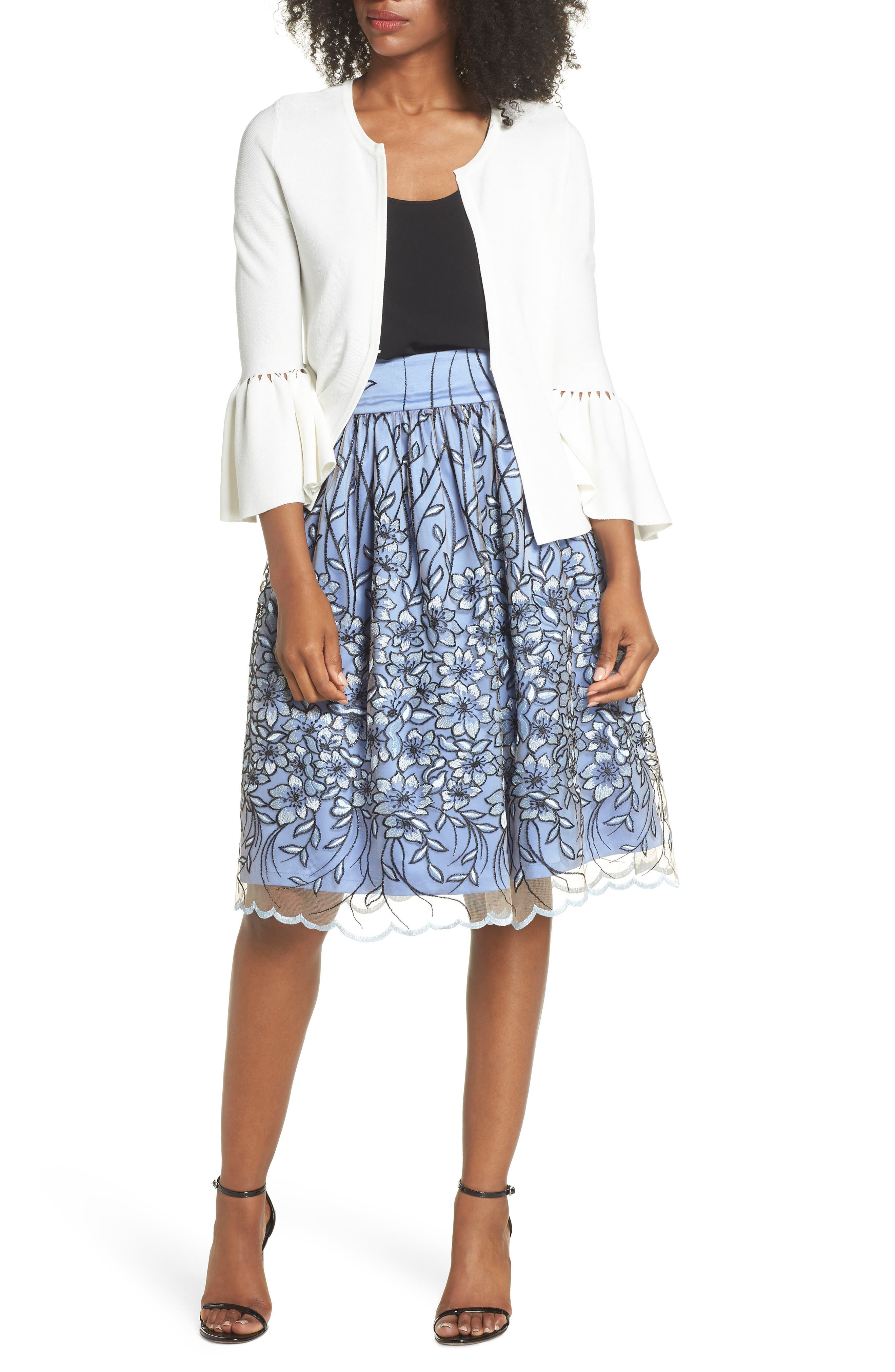 Embroidered A-Line SKirt,                             Alternate thumbnail 7, color,                             474