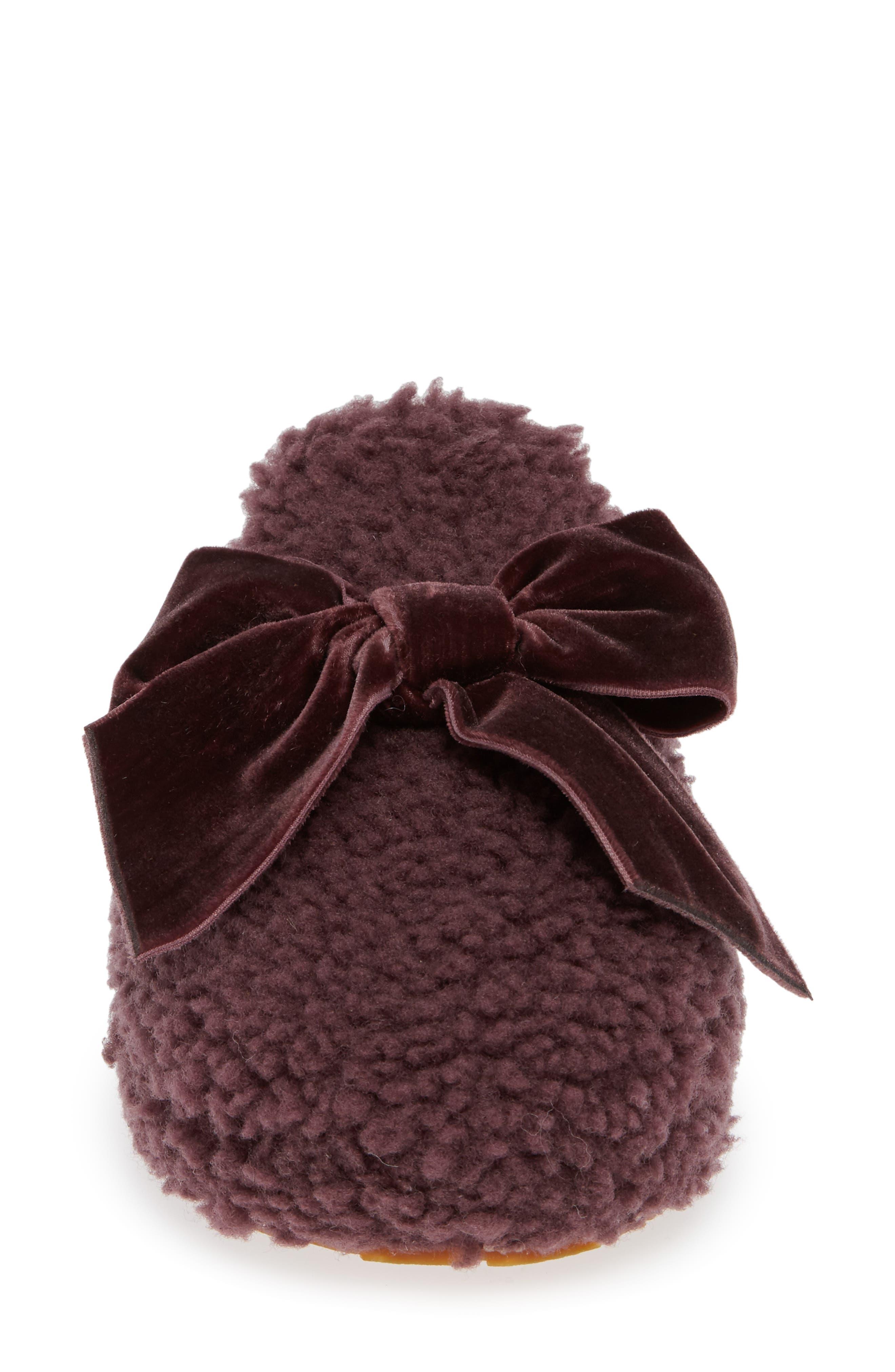 Addison Velvet Bow Genuine Shearling Slipper,                             Alternate thumbnail 4, color,                             PORT
