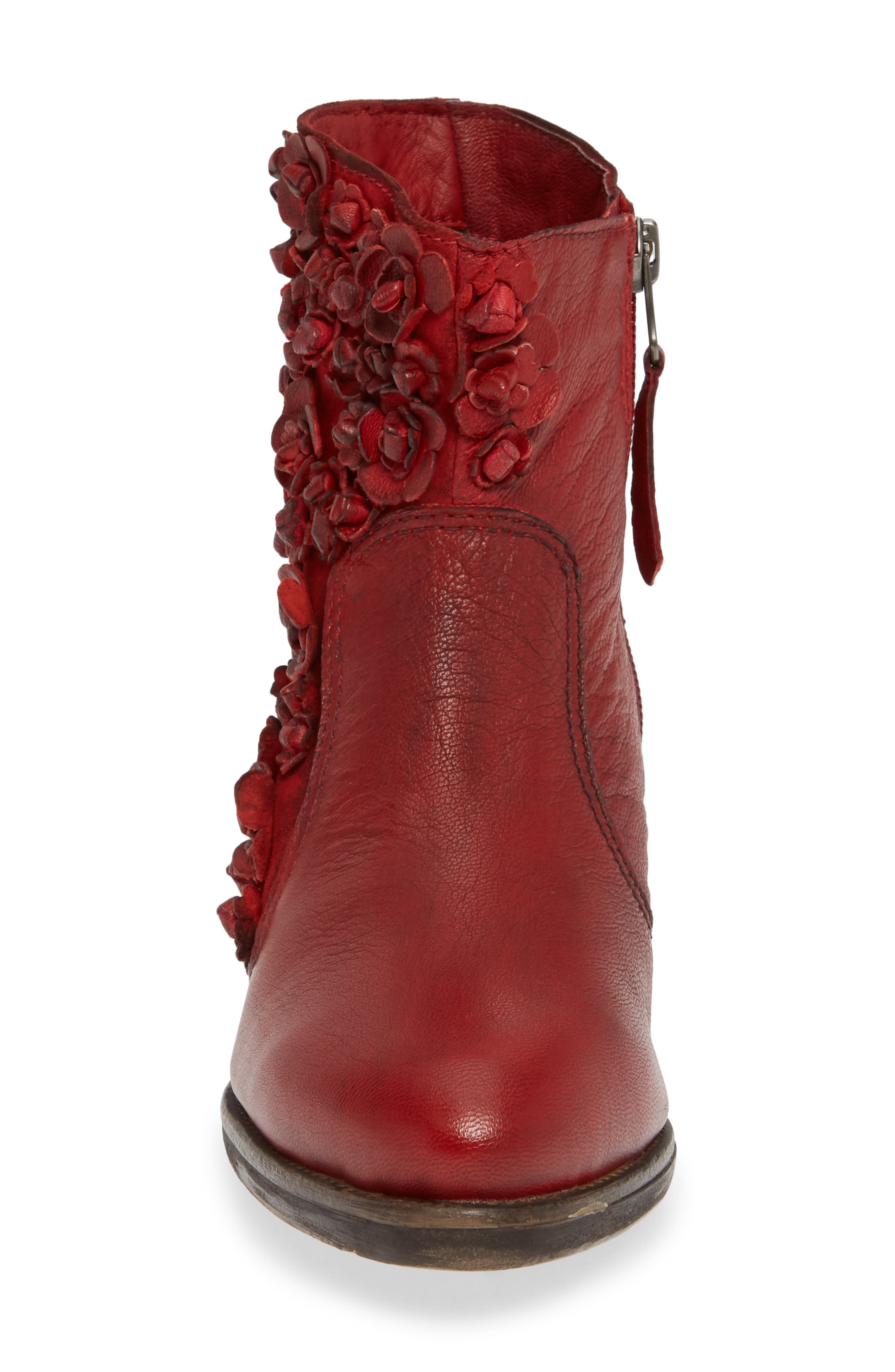 Sapphire Bootie,                             Alternate thumbnail 4, color,                             RED LEATHER