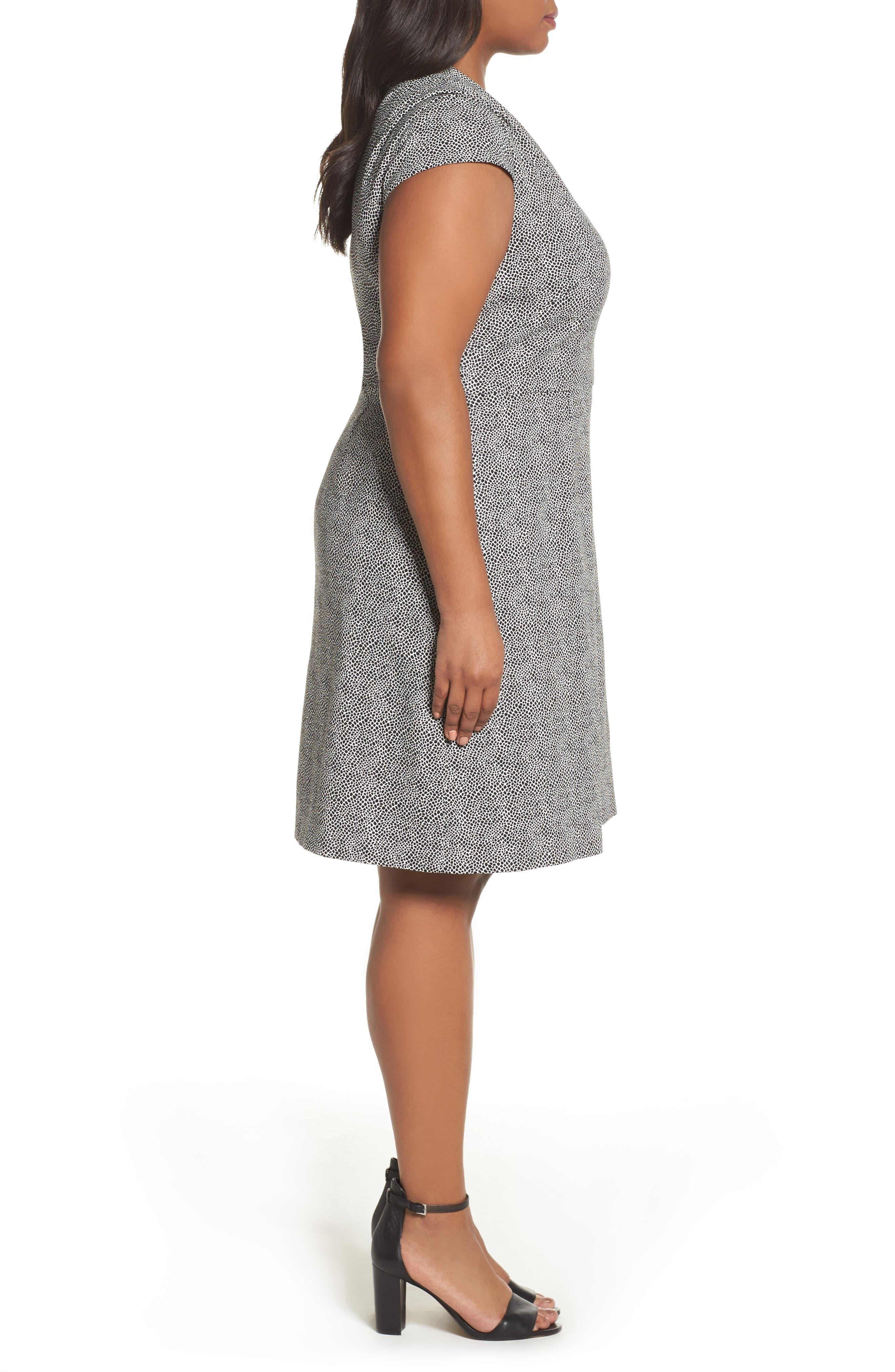 Spotted Jacquard Fit & Flare Dress,                             Alternate thumbnail 3, color,                             001