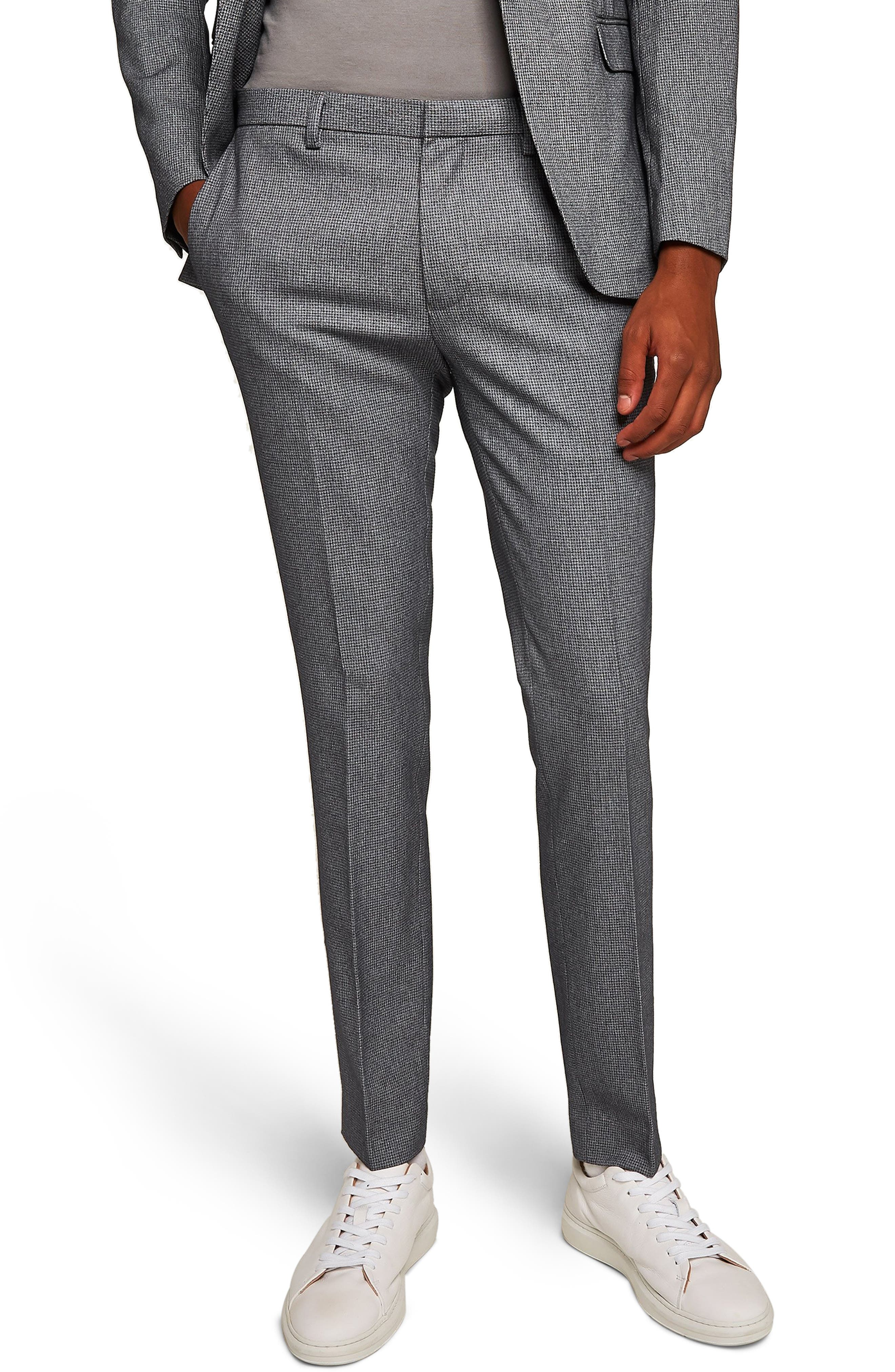 Ultra Skinny Fit Houndstooth Suit Trousers,                         Main,                         color, GREY