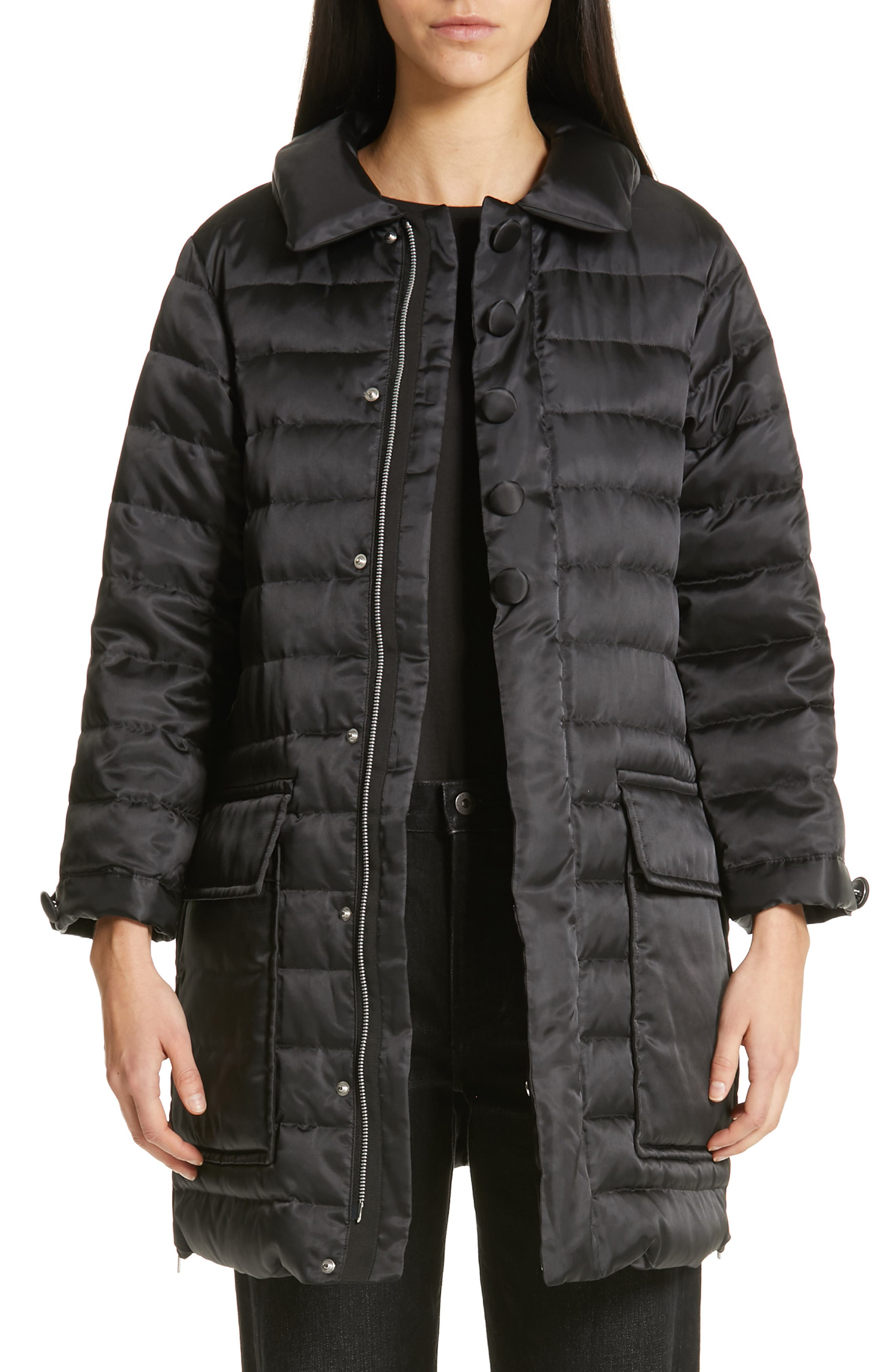 Quilted Down Coat,                             Main thumbnail 1, color,                             BLACK