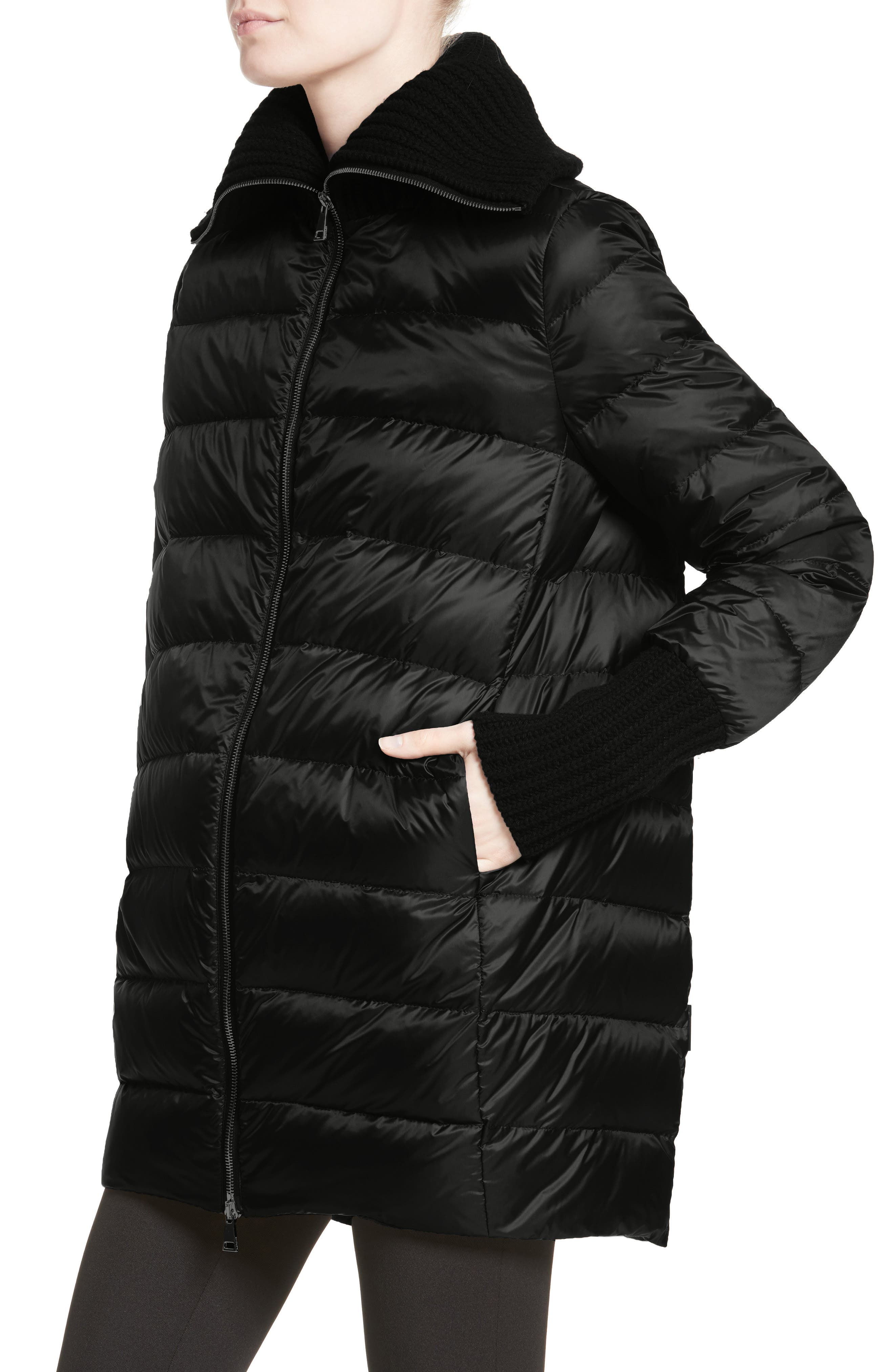 Acanthus Wool & Cashmere Coat with Removable Down Puffer Layer,                             Alternate thumbnail 4, color,                             BLACK